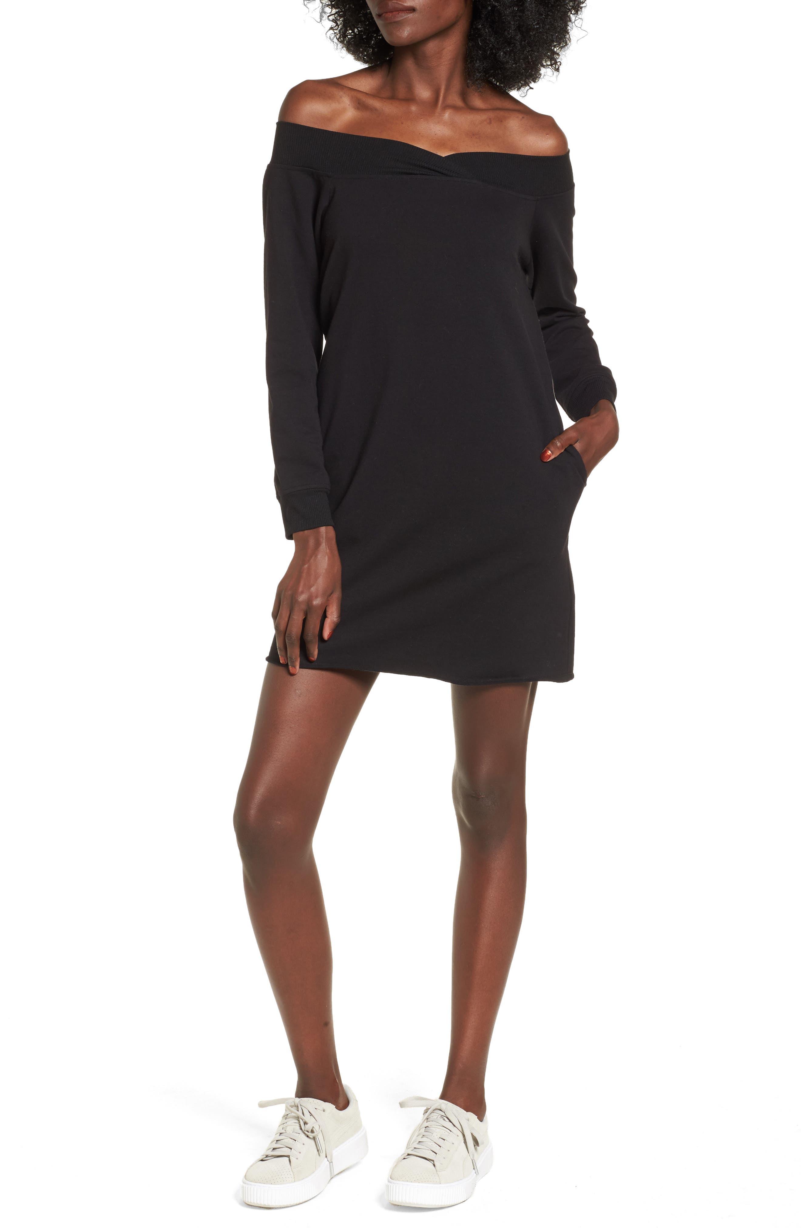 Off the Shoulder Sweatshirt Dress,                         Main,                         color, Black
