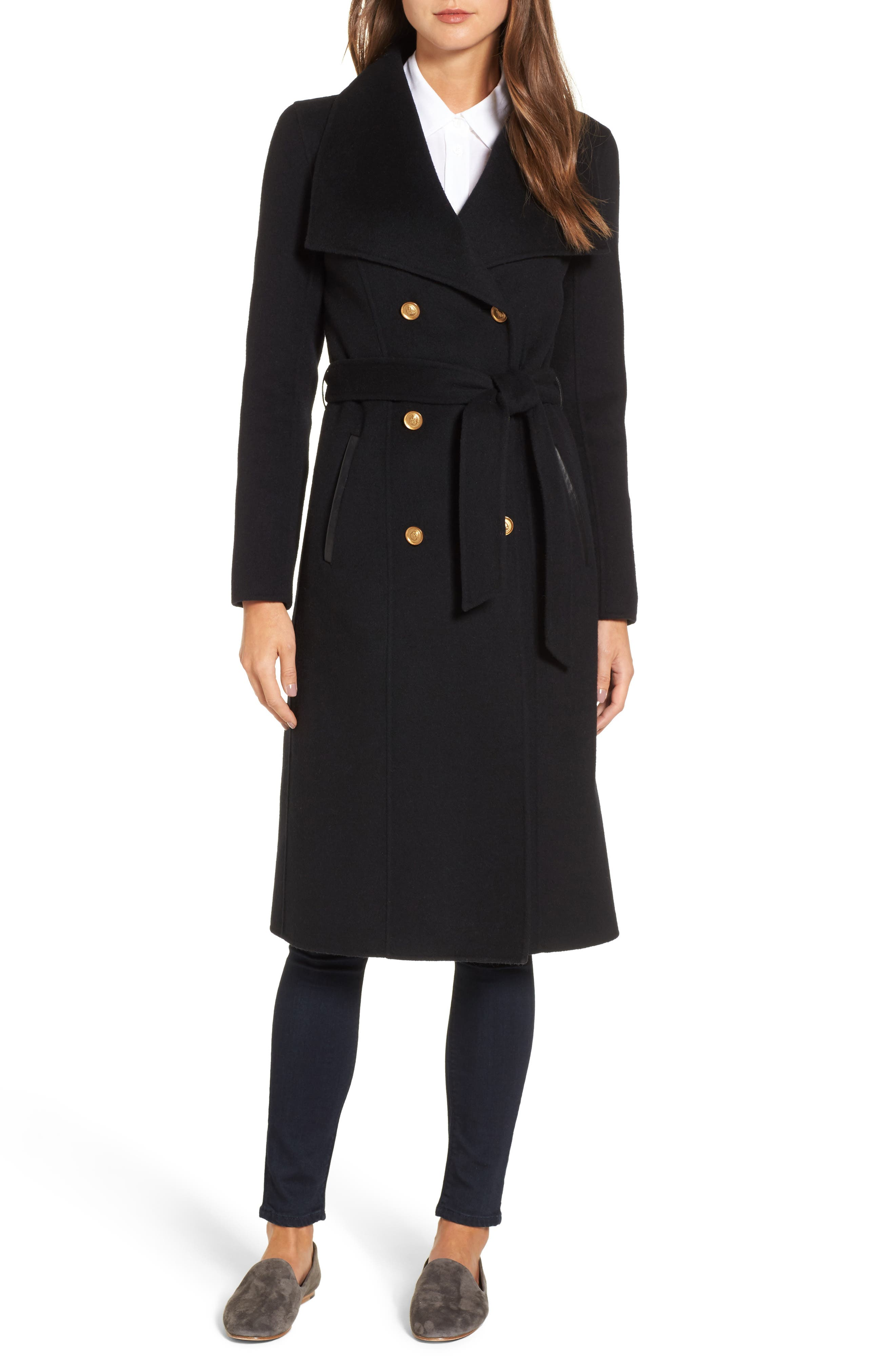 Norah-N Double Breasted Wool Blend Long Military Coat,                         Main,                         color, Black
