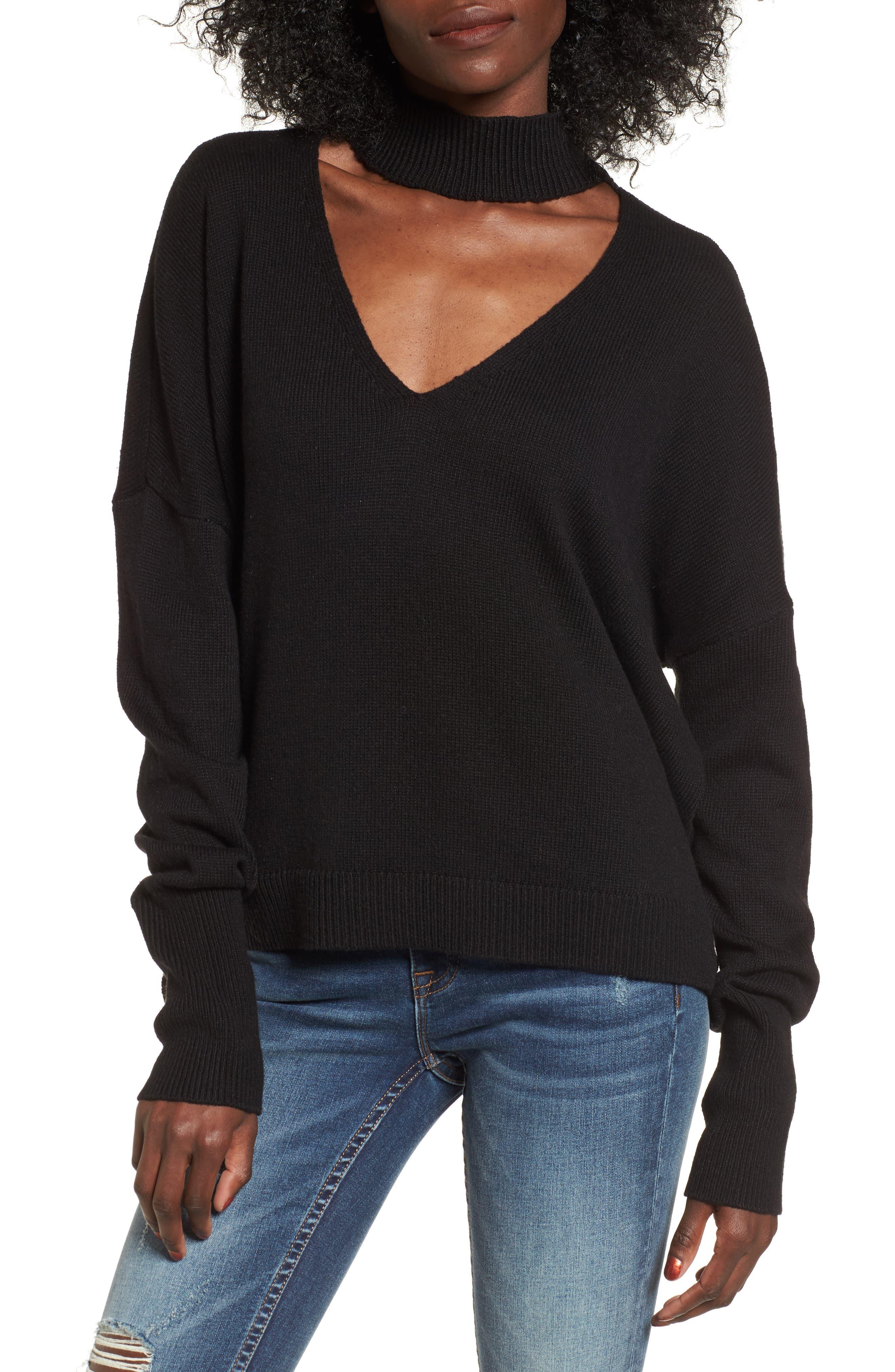 Cutout Neck Pullover,                         Main,                         color, Black