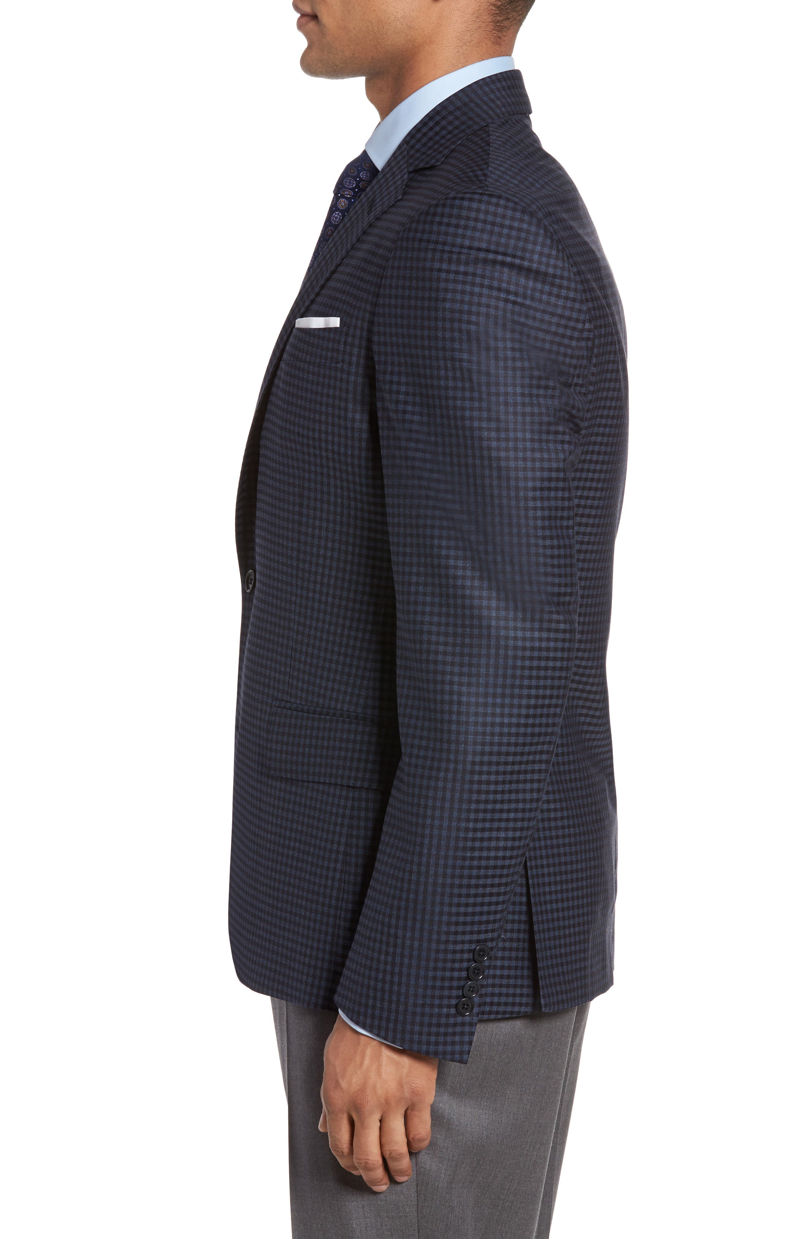 Classic Fit Check Wool Sport Coat,                             Alternate thumbnail 3, color,                             Navy