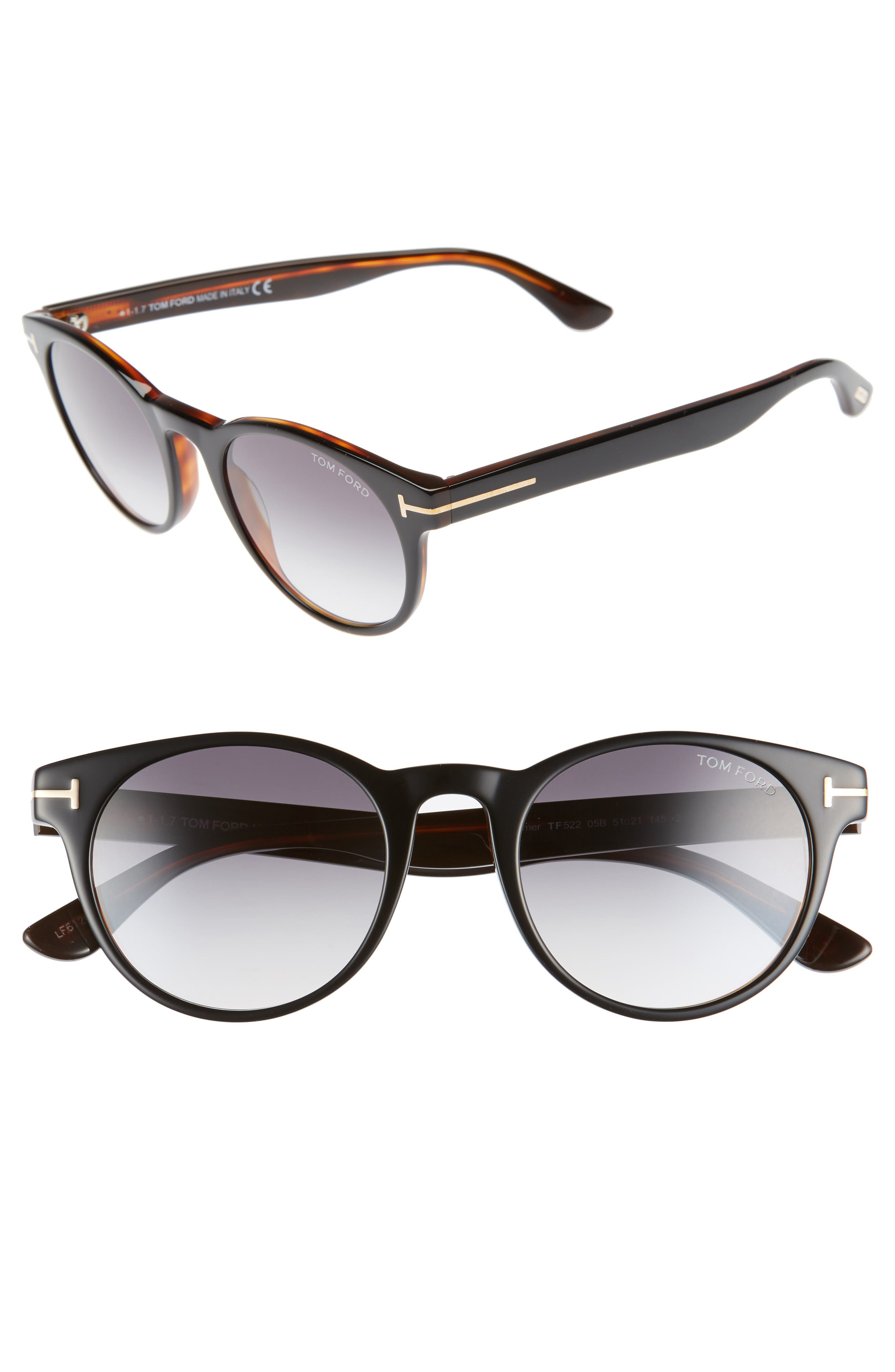 Palmer 51mm Gradient Lens Sunglasses,                         Main,                         color, Black/ Gradient Smoke