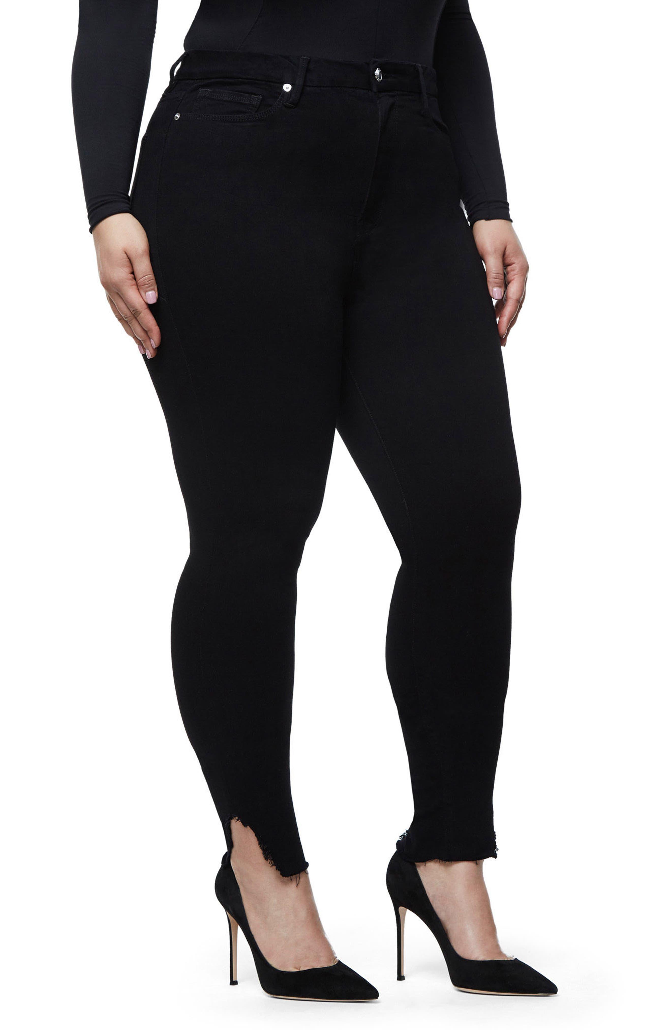 Good Waist Side Triangle Skinny Jeans,                             Alternate thumbnail 9, color,                             Black108