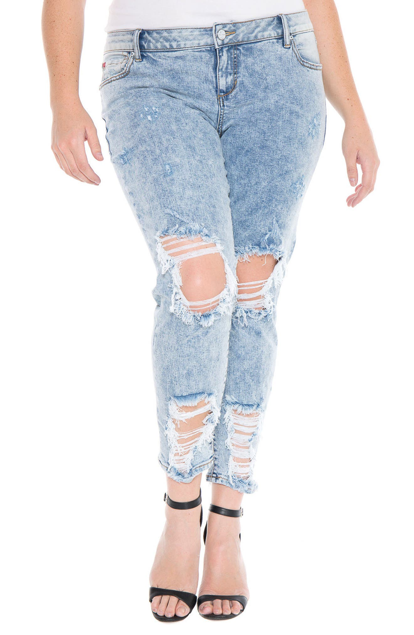 Alternate Image 4  - SLINK Jeans Destroyed Boyfriend Jeans (Amelia) (Plus Size)