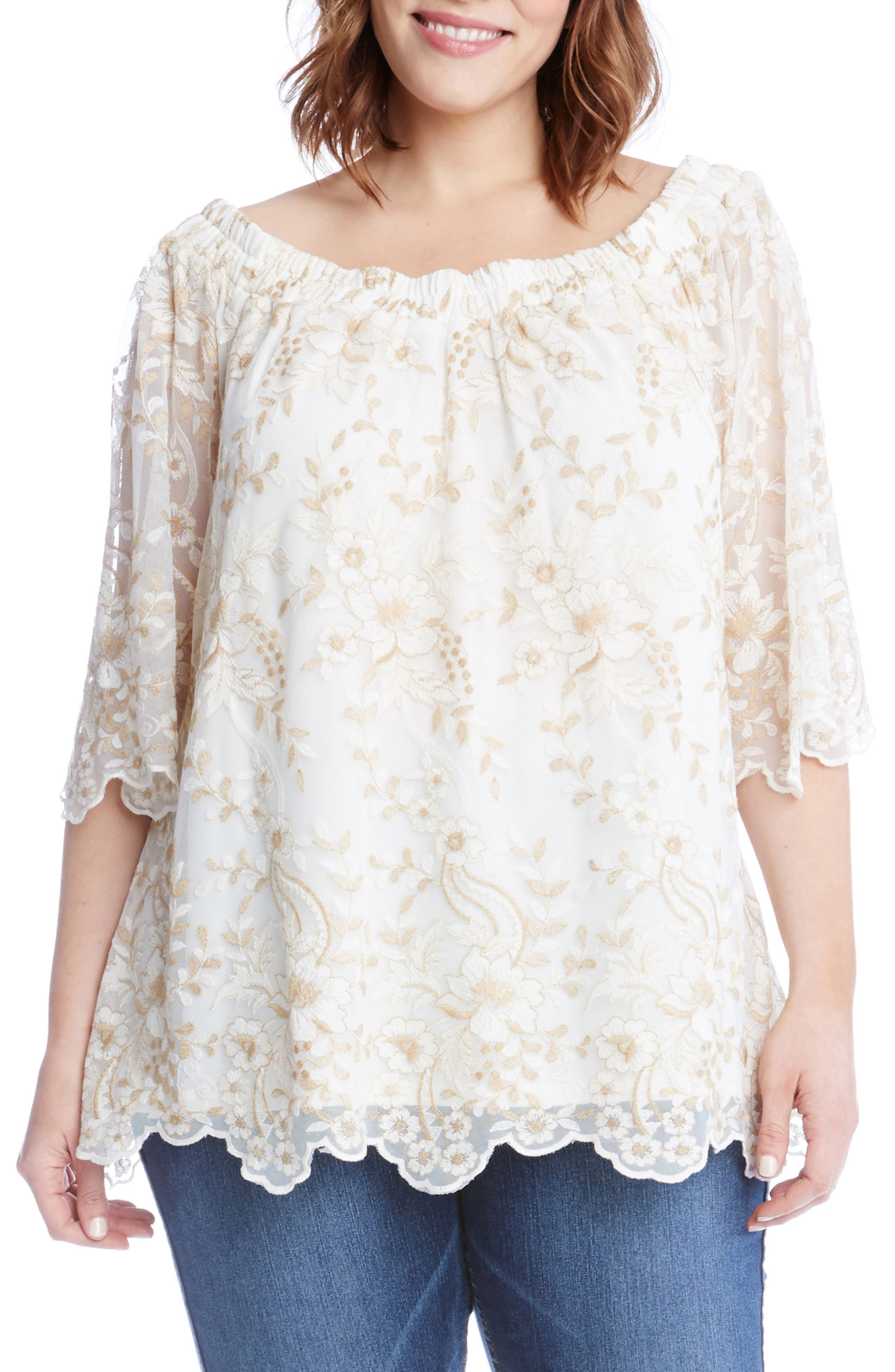 Main Image - Karen Kane Embroidered Mesh Off the Shoulder Top (Plus Size)