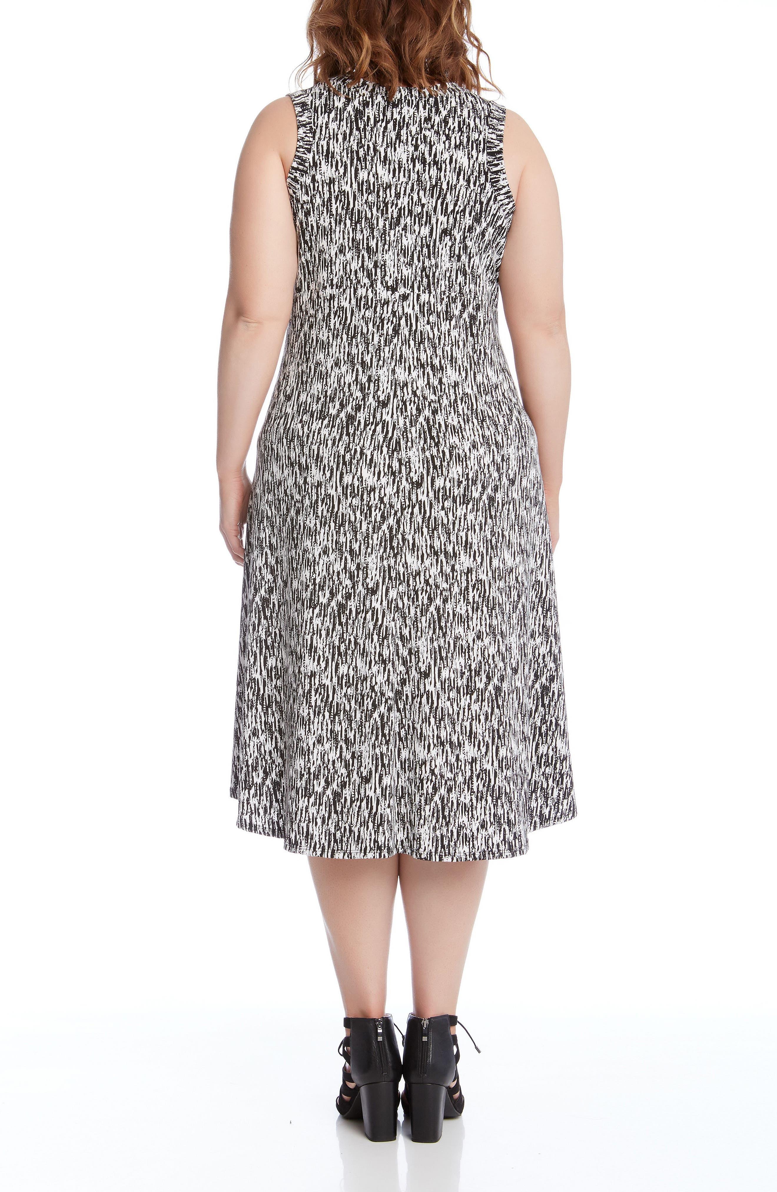 Alternate Image 2  - Karen Kane Print High/Low Hem Dress (Plus Size)