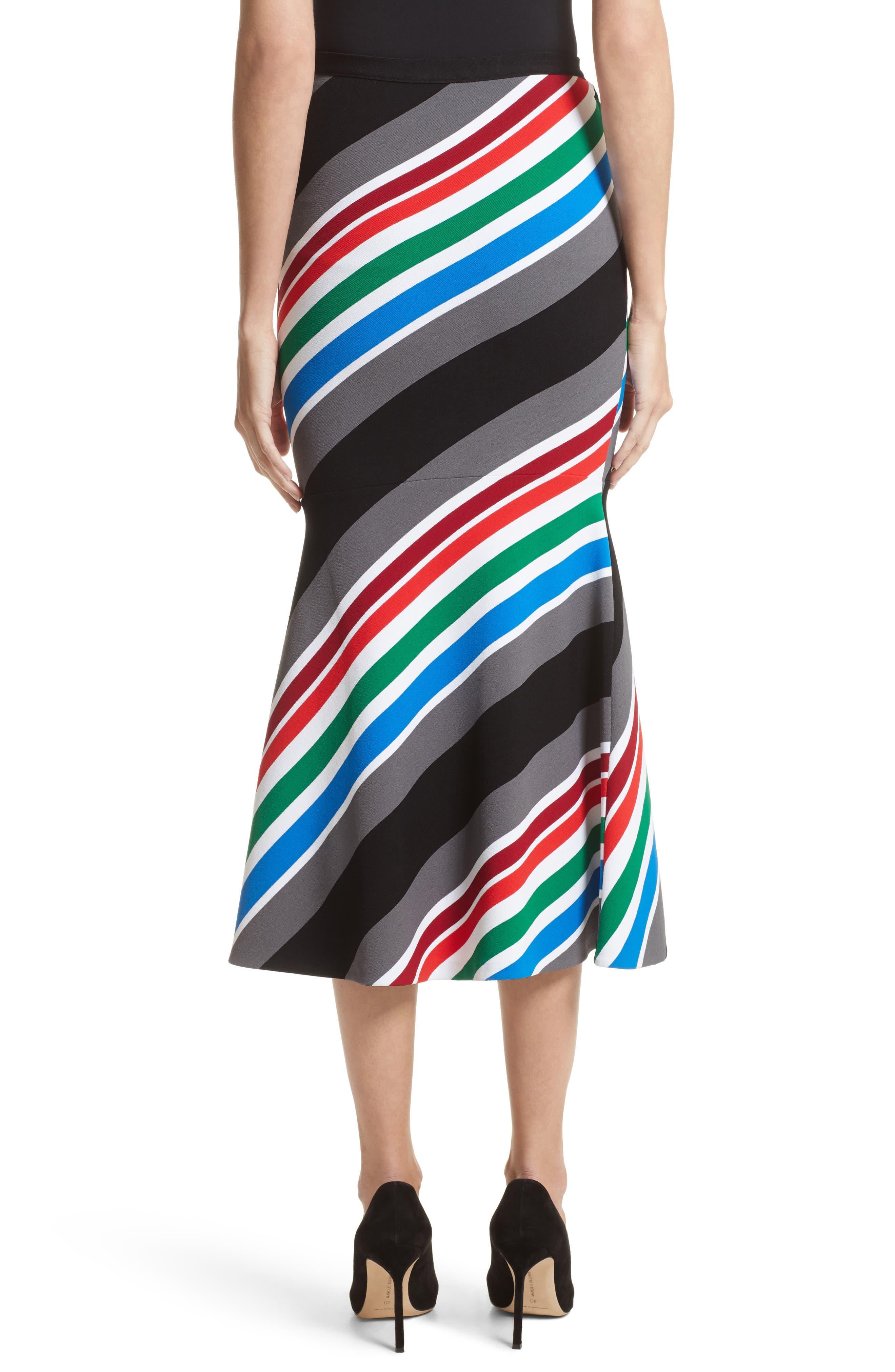 Alternate Image 2  - Oscar de la Renta Compact Knit Stripe Skirt