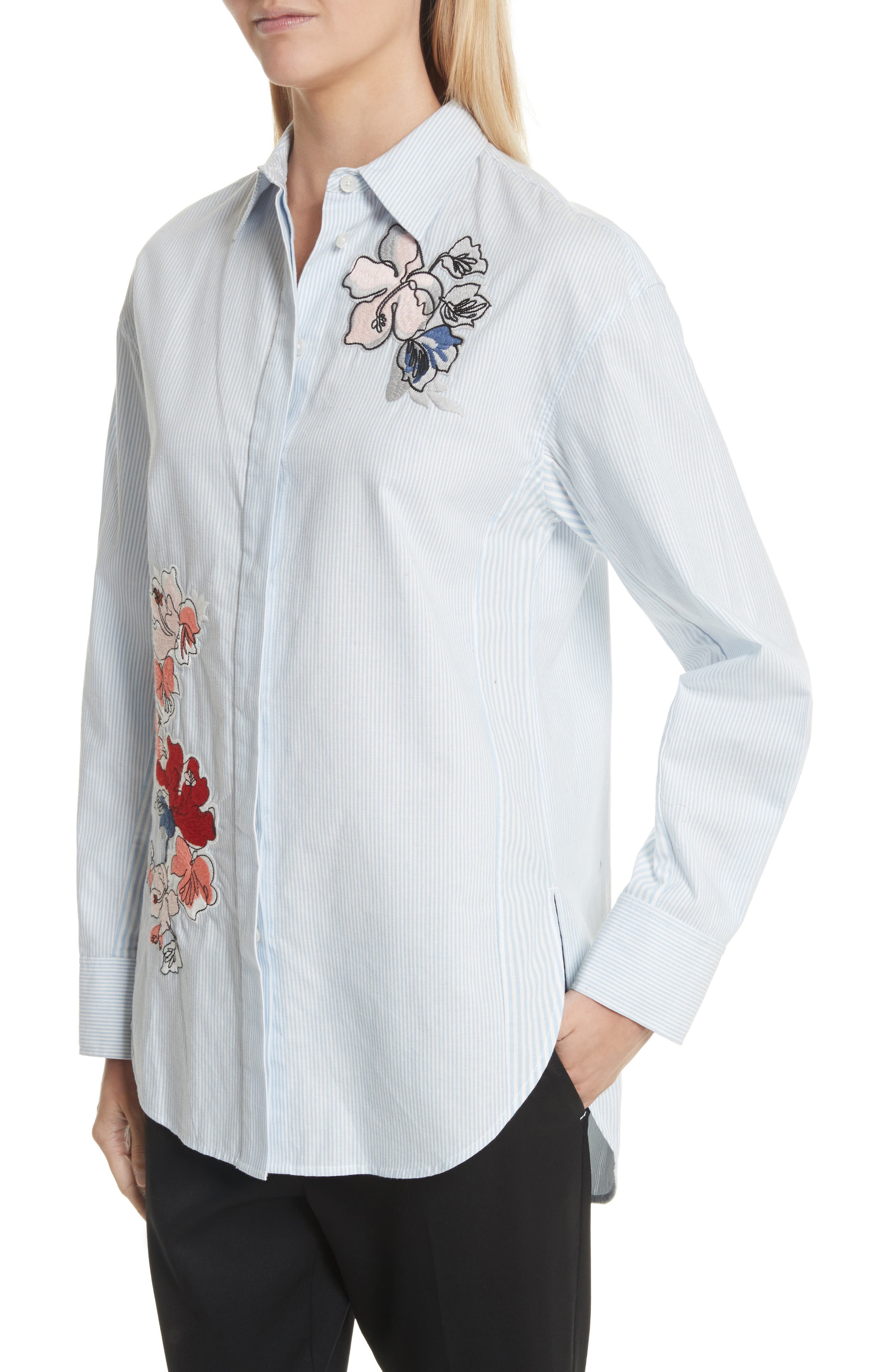 Embroidered Stripe Cotton Shirt,                             Alternate thumbnail 4, color,                             Baby Blue Multi