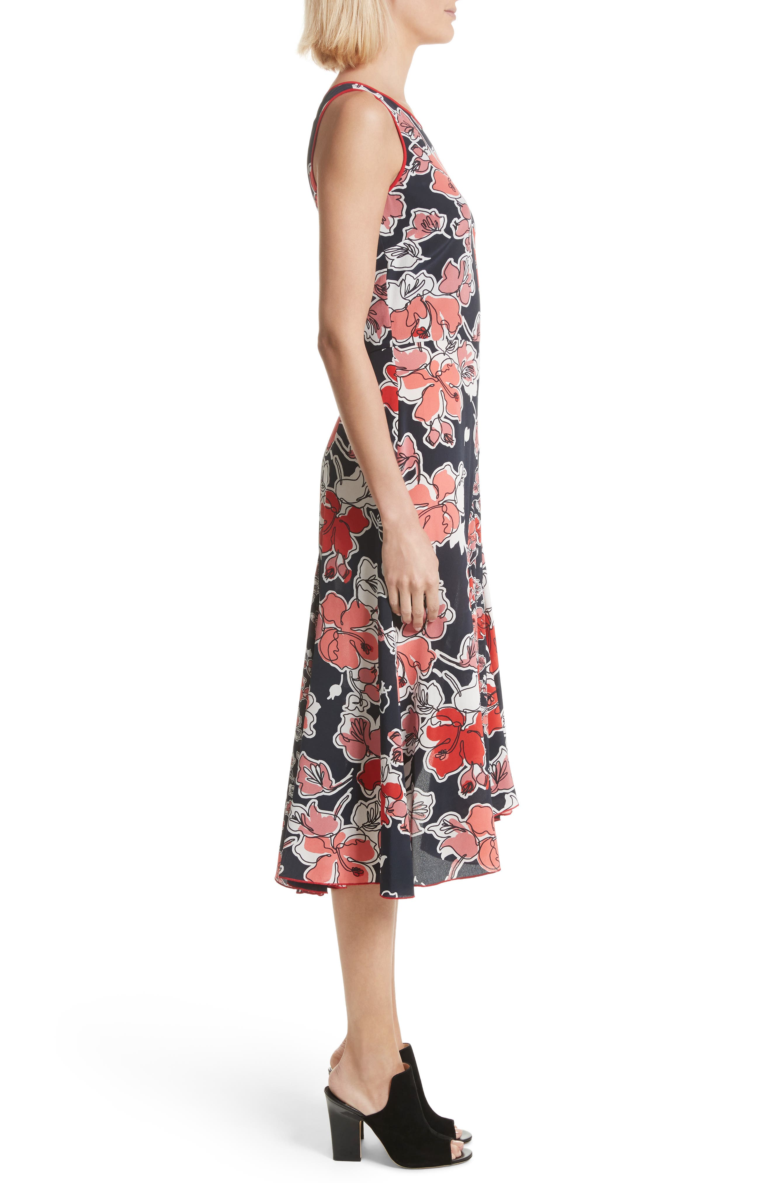 Floral Print Silk Asymmetrical Dress,                             Alternate thumbnail 3, color,                             Midnight Multi