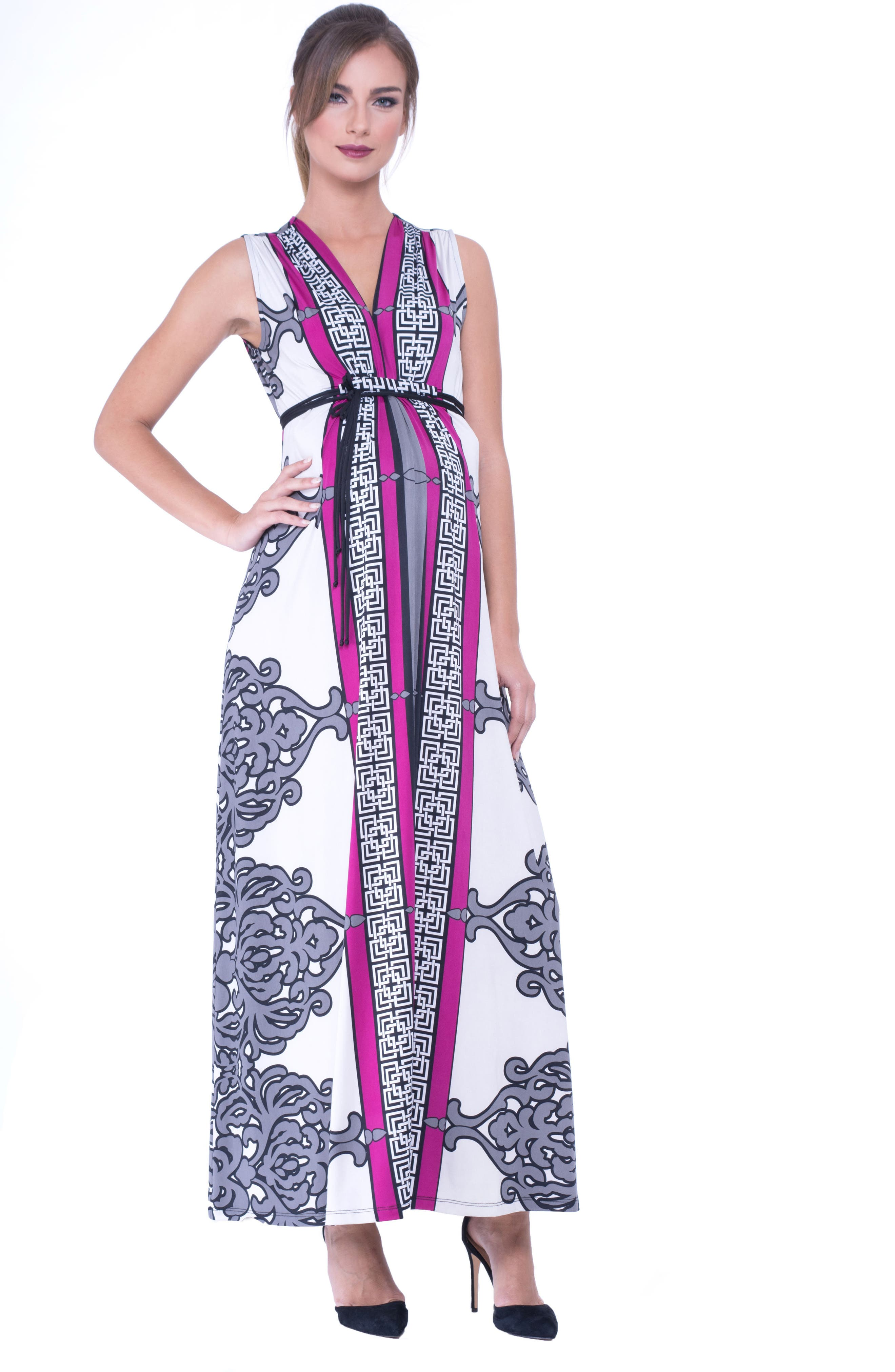 Print Maxi Maternity Dress,                             Main thumbnail 1, color,                             Grey/ White Print