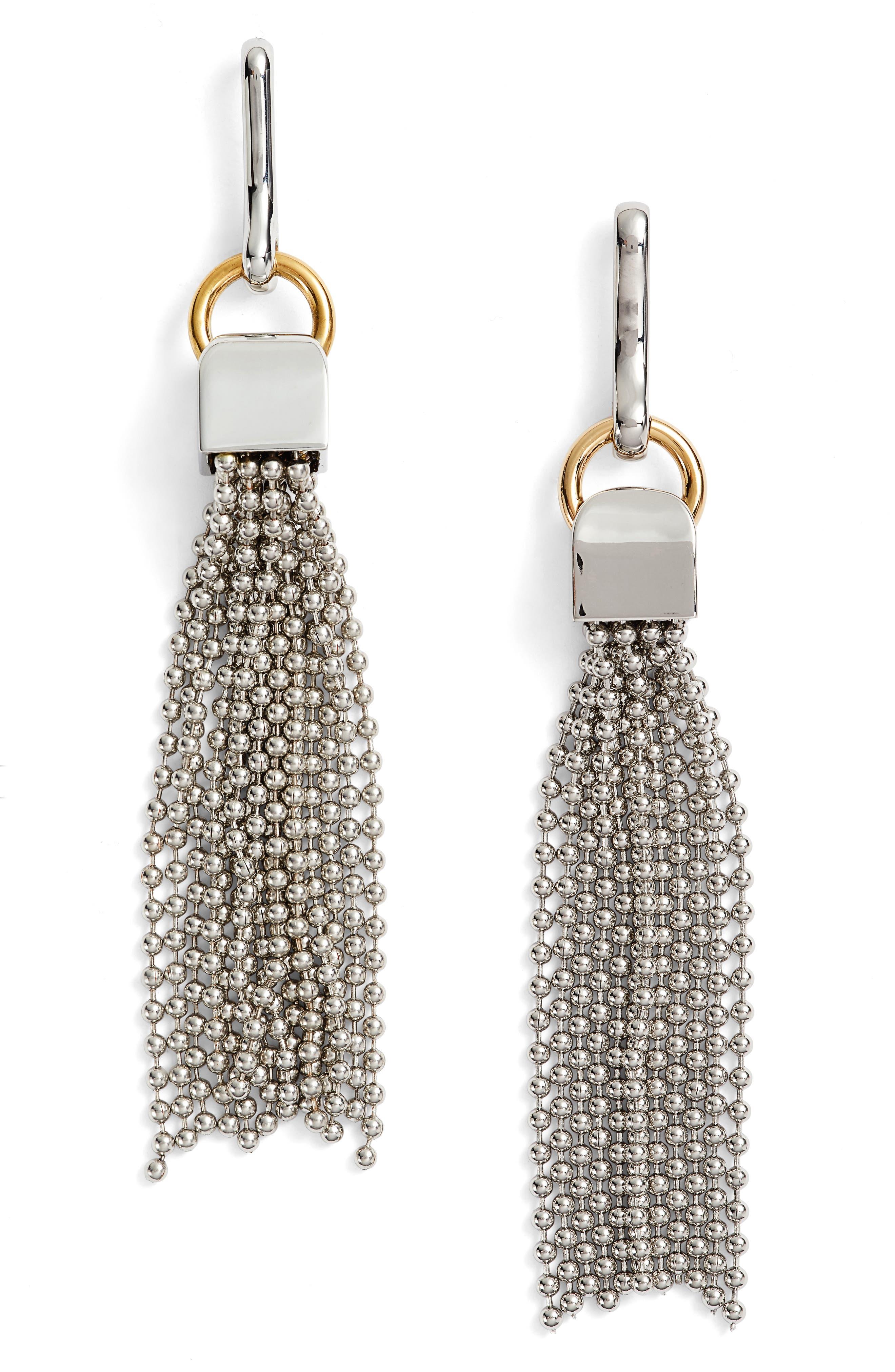 Tassel Drop Earrings,                         Main,                         color, Silver
