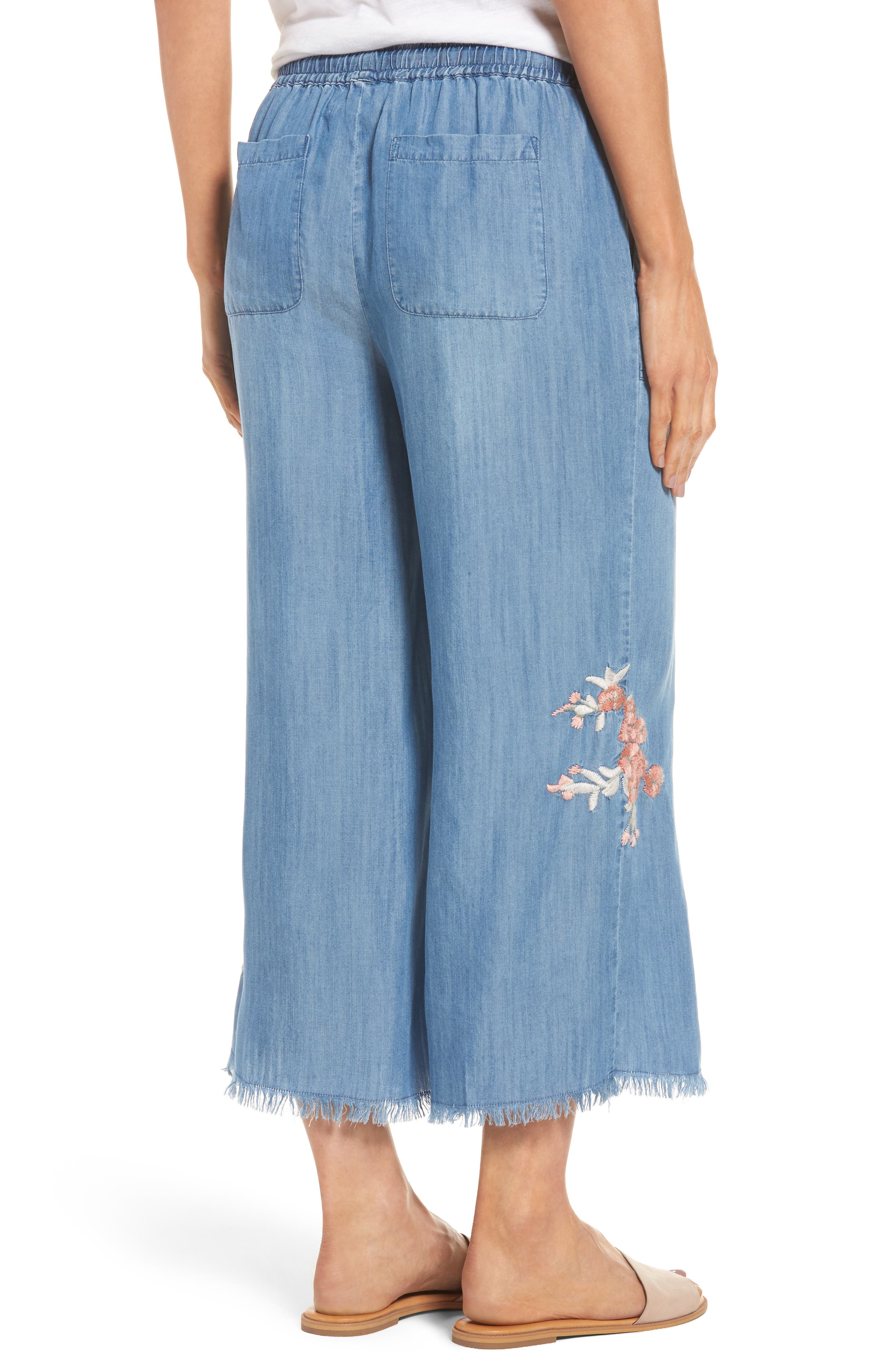 Alternate Image 2  - BILLY T Embroidered Denim Wide Leg Crop Pants