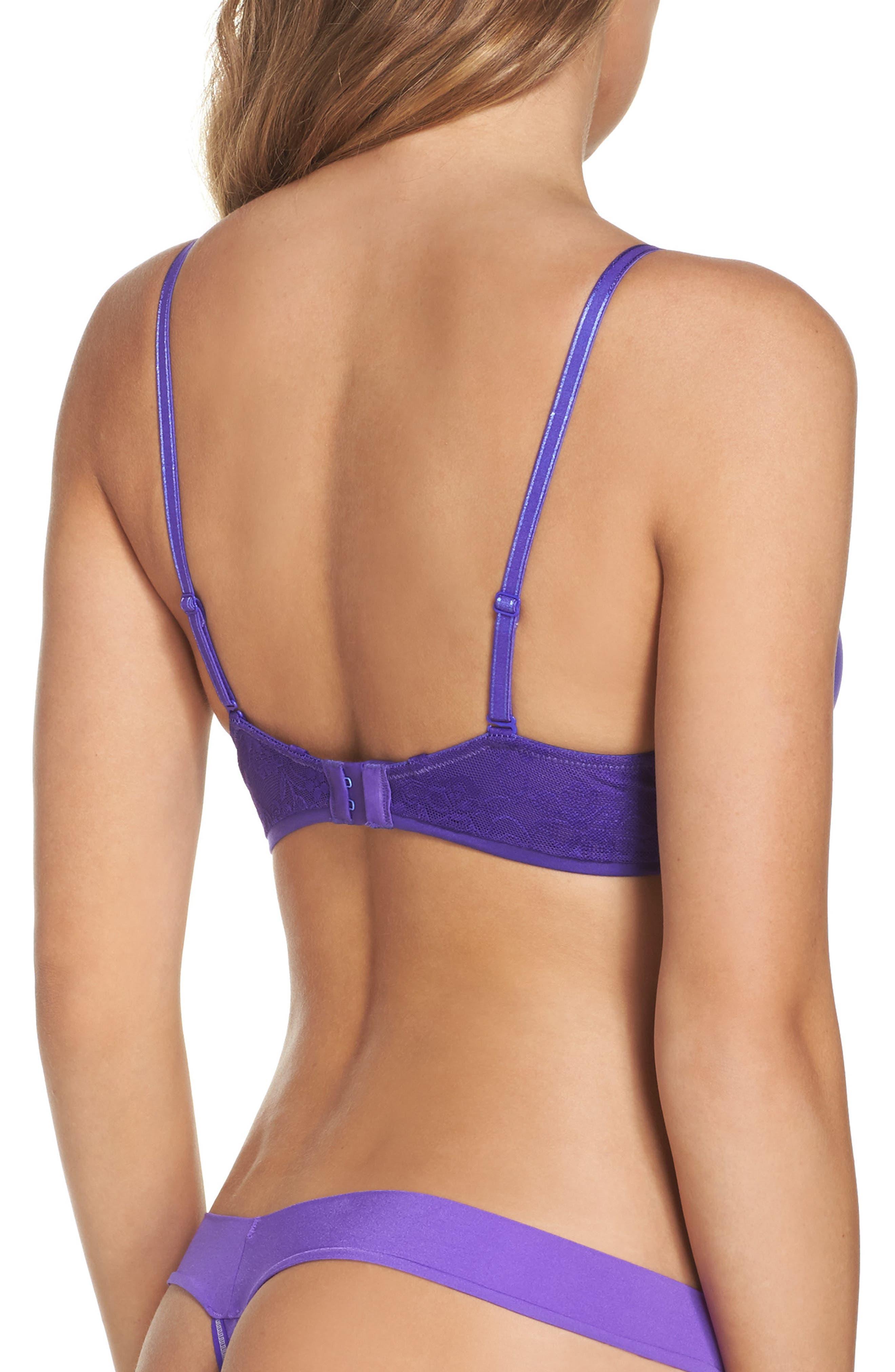 Alternate Image 2  - Betsey Johnson Lace Back Plunging Underwire Push-Up Bra