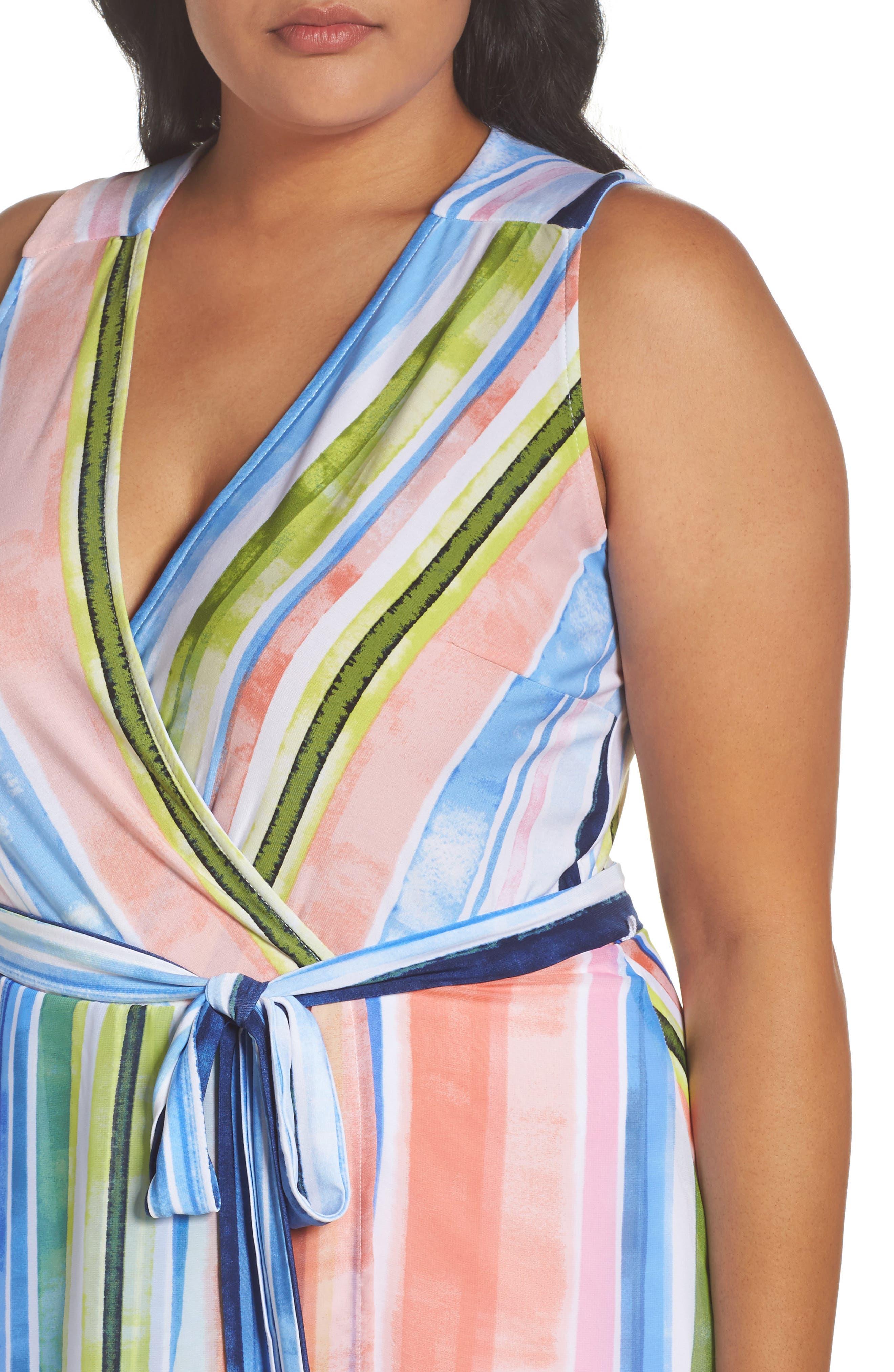 Stripe Faux Wrap Dress,                             Alternate thumbnail 4, color,                             Multi