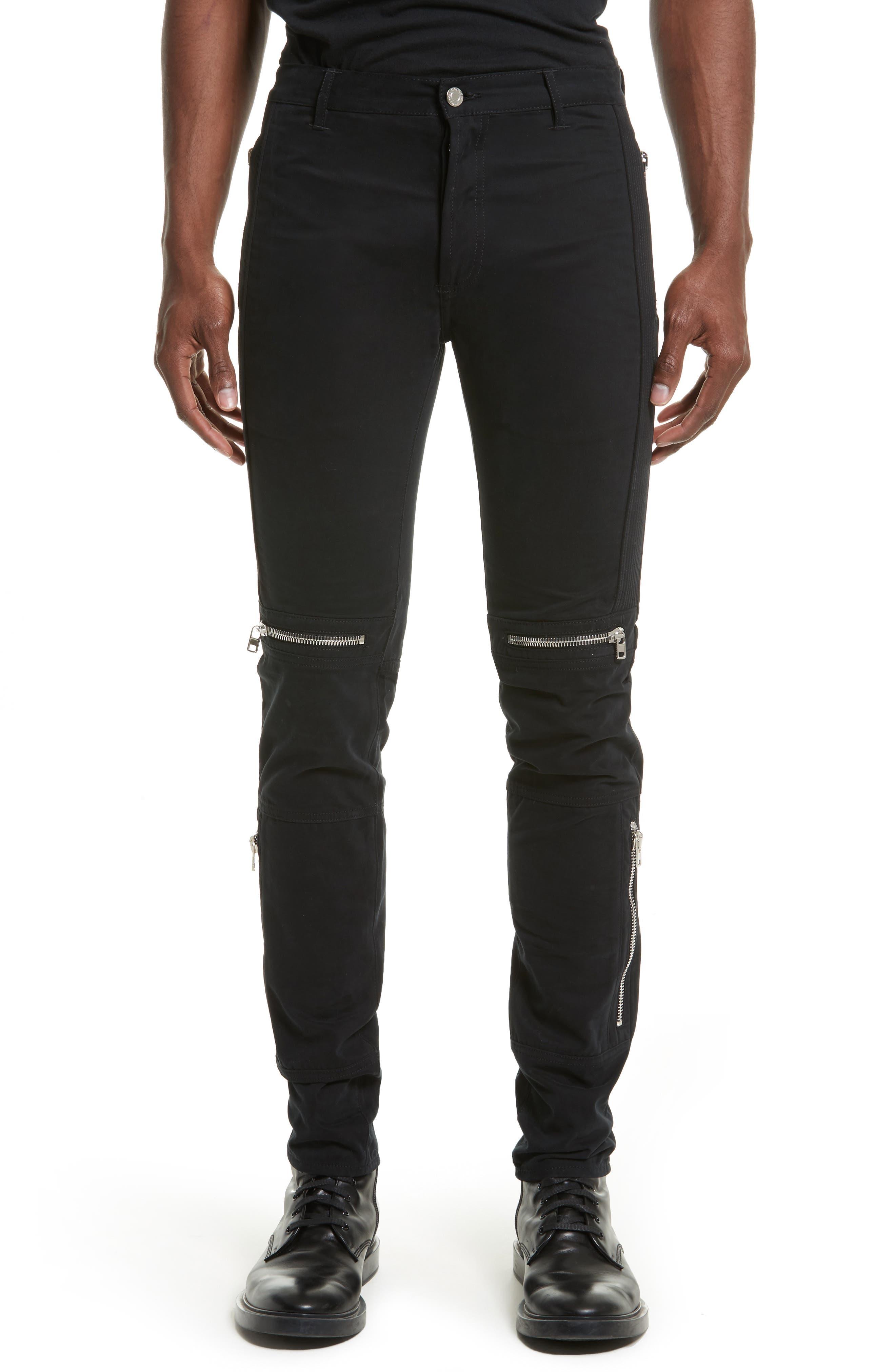Zip Detail Twill Biker Pants,                         Main,                         color, Black
