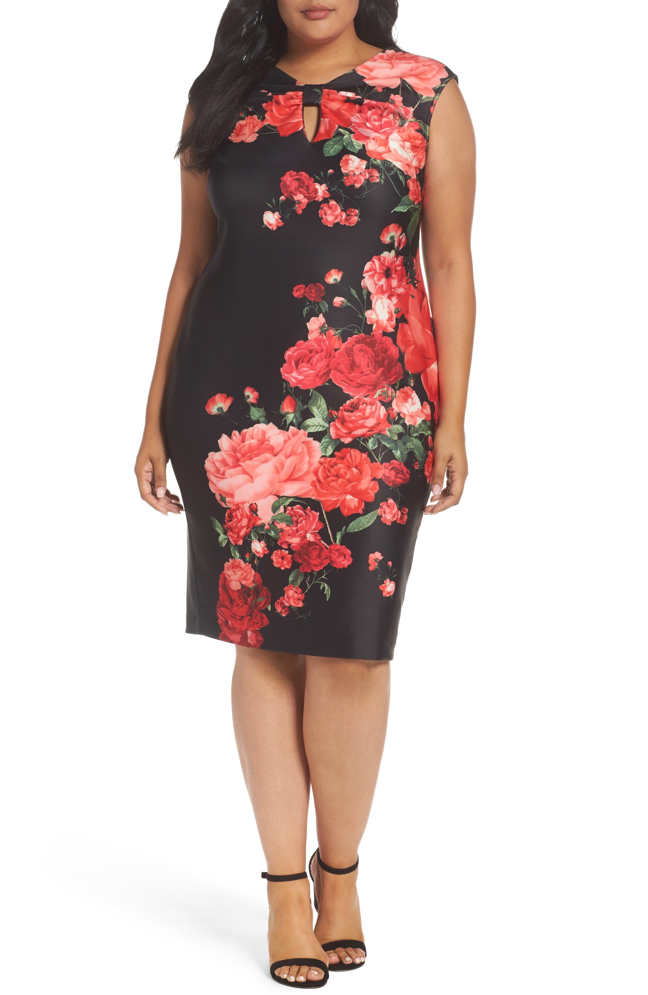 Floral Print Sheath Dress,                         Main,                         color, Black/ Red
