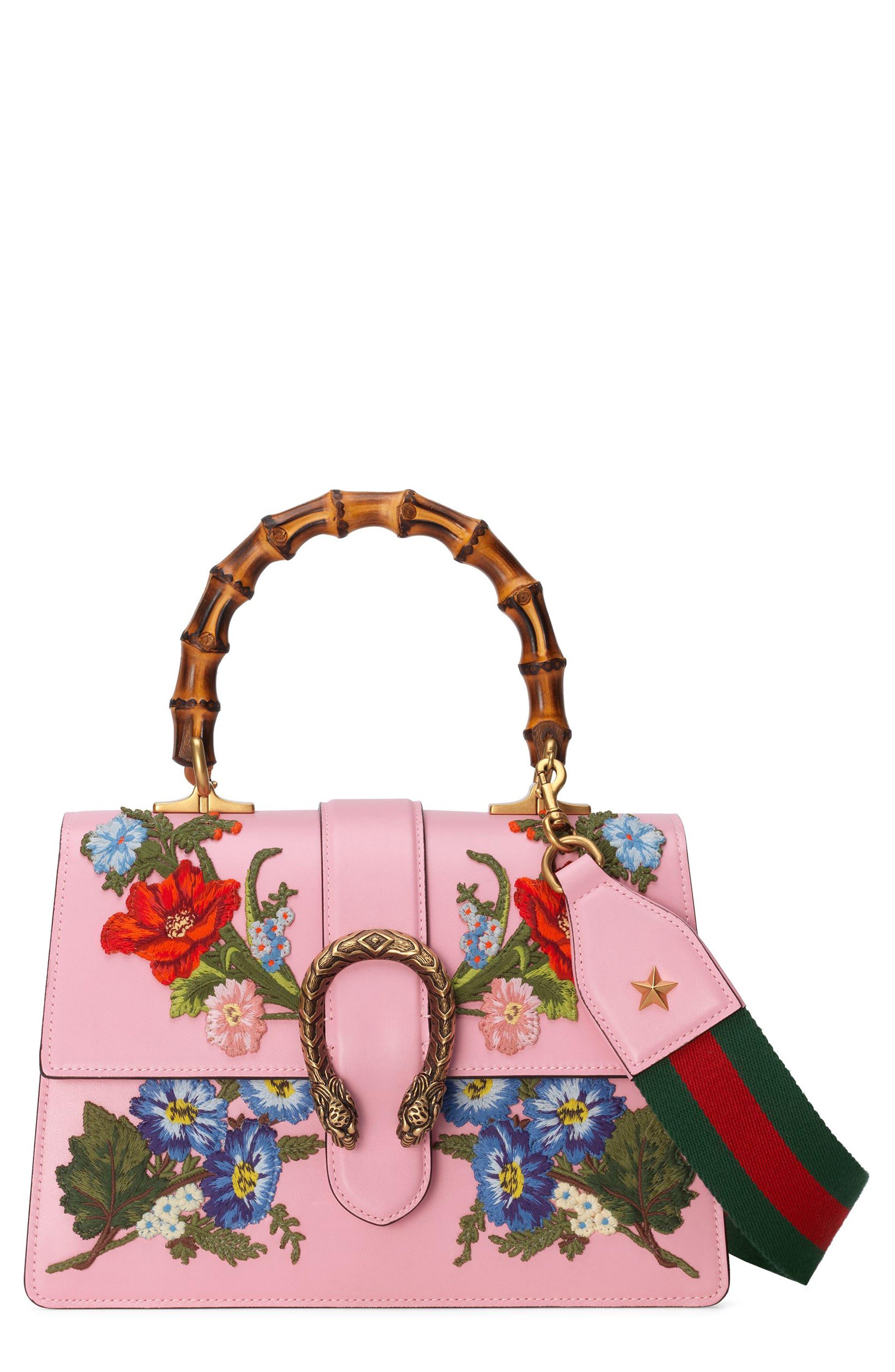 Small Dionysus Top Handle Leather Shoulder Bag,                             Main thumbnail 1, color,                             Sugar Pink/Multi