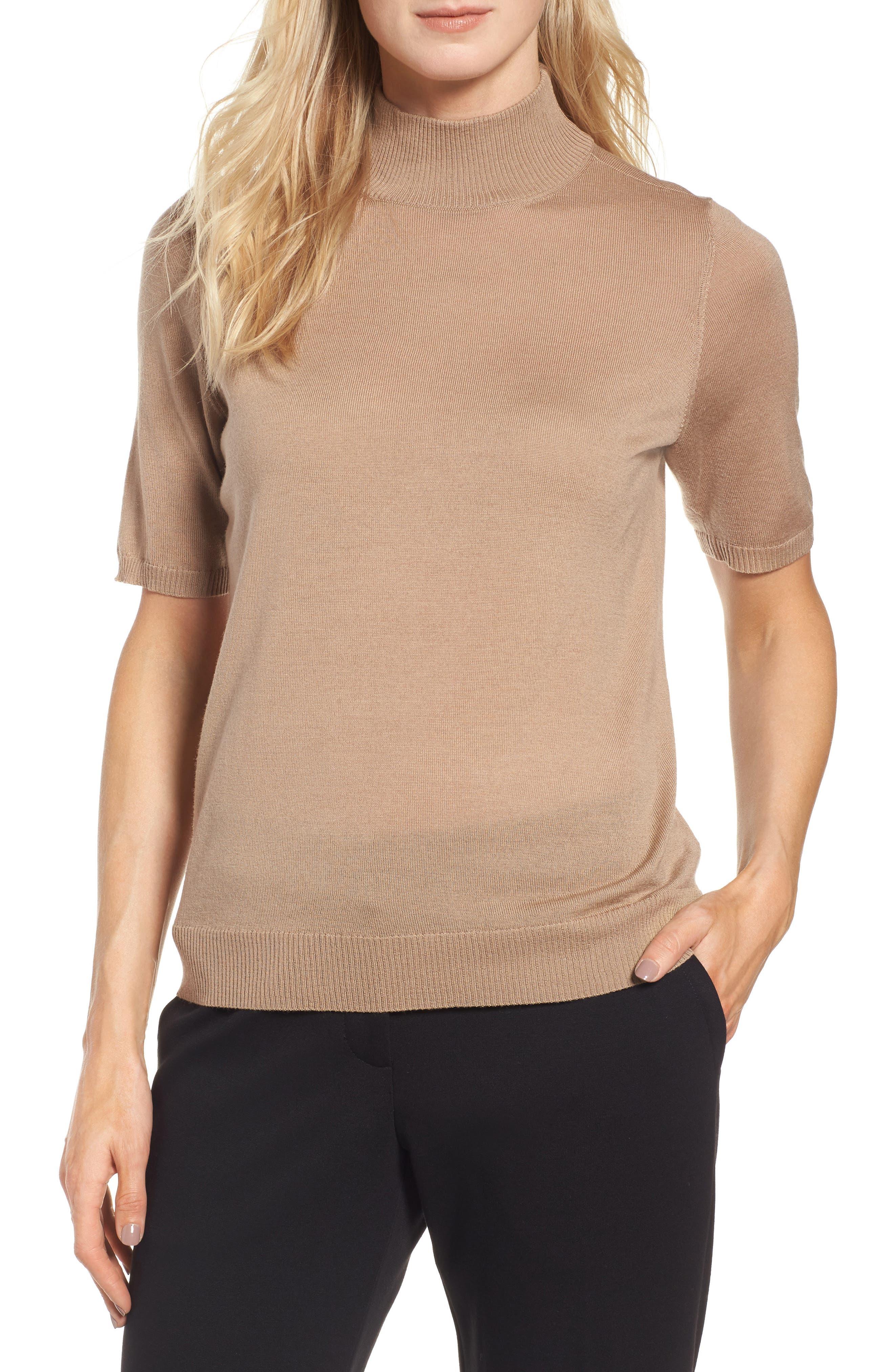 Eileen Fisher Merino Wool Mock Neck Sweater
