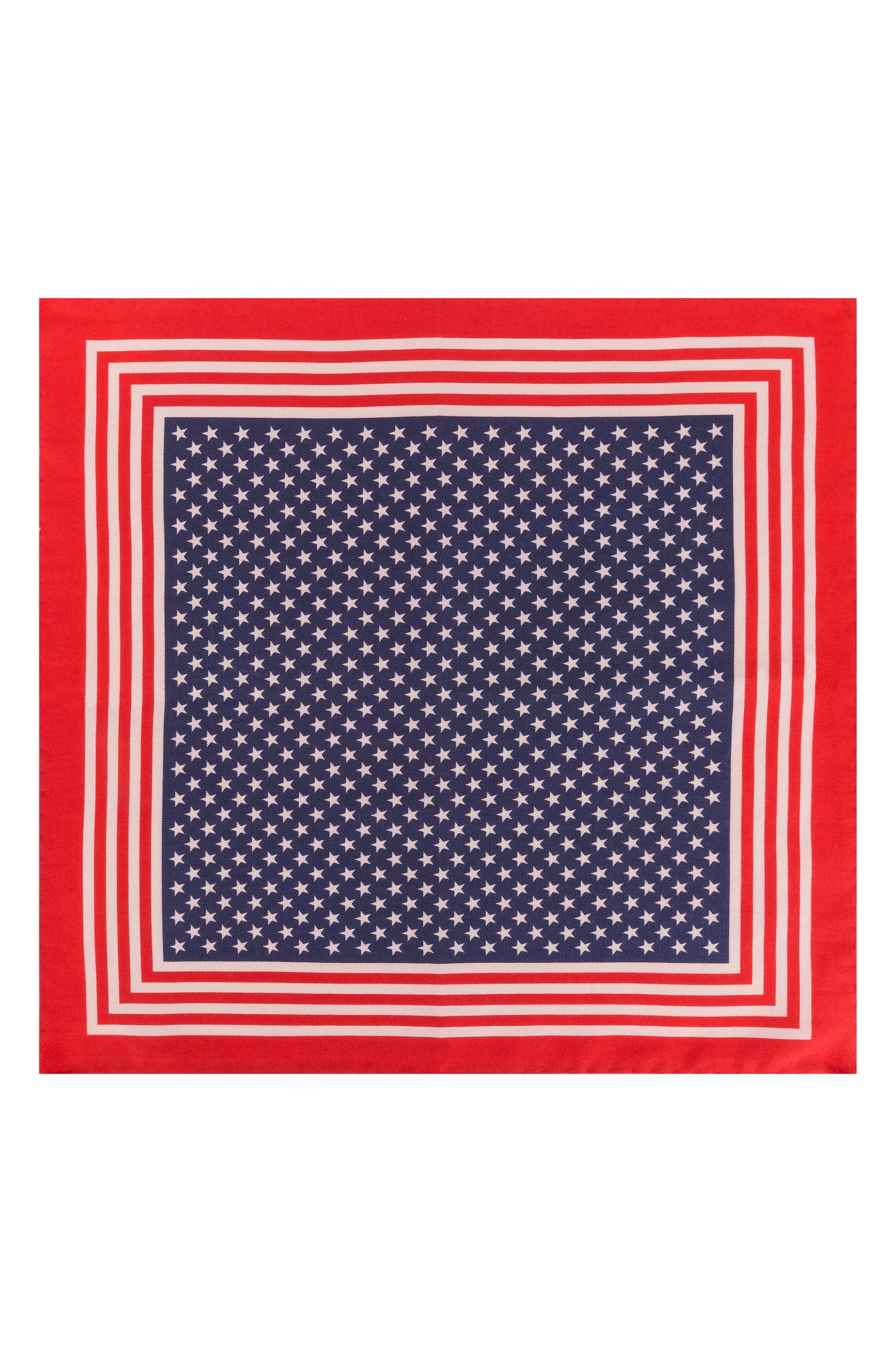Stars & Stripes Cotton & Silk Pocket Square,                             Alternate thumbnail 2, color,                             Red/ Blue