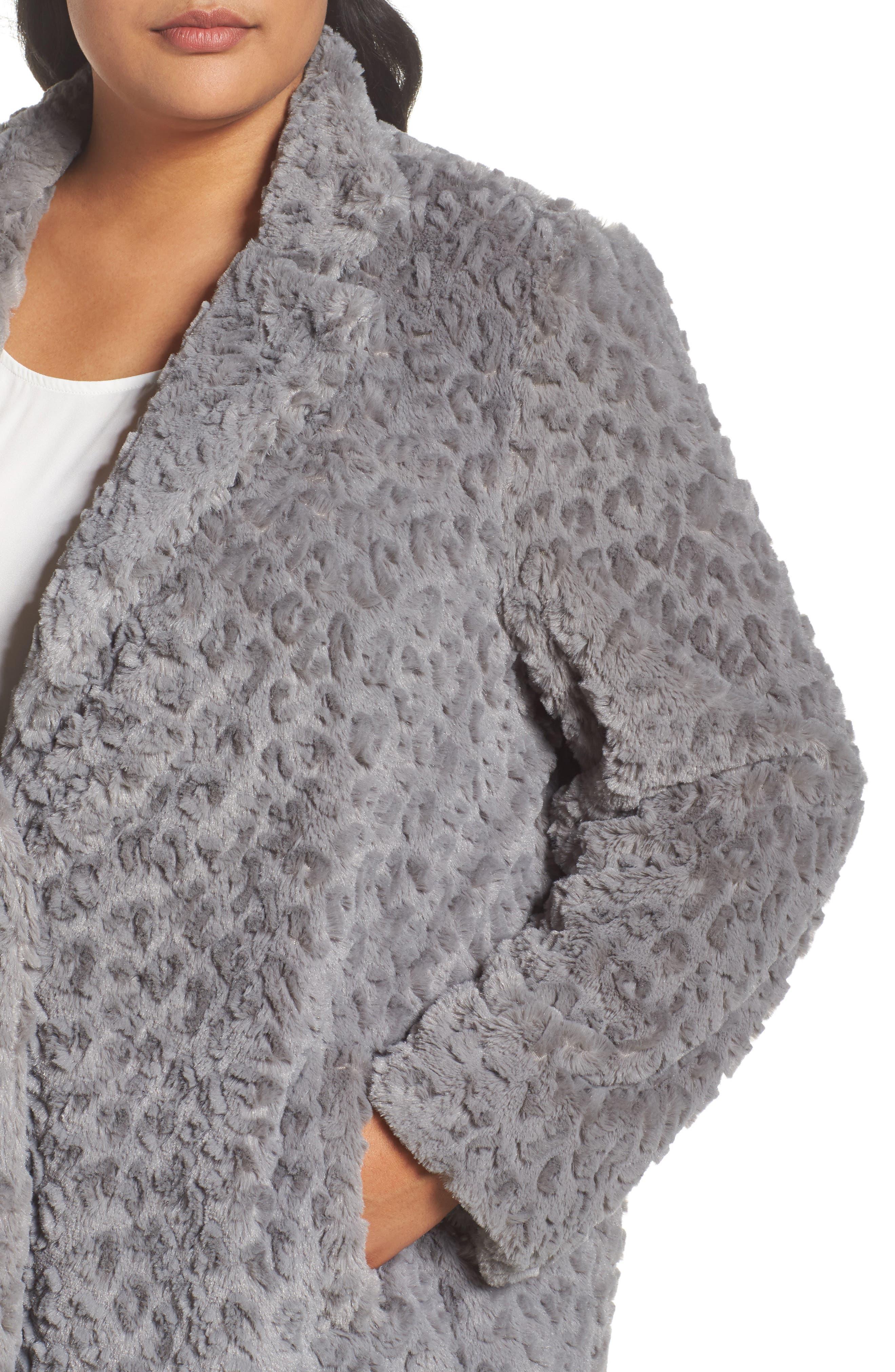 Faux Fur Jacket,                             Alternate thumbnail 4, color,                             Grey