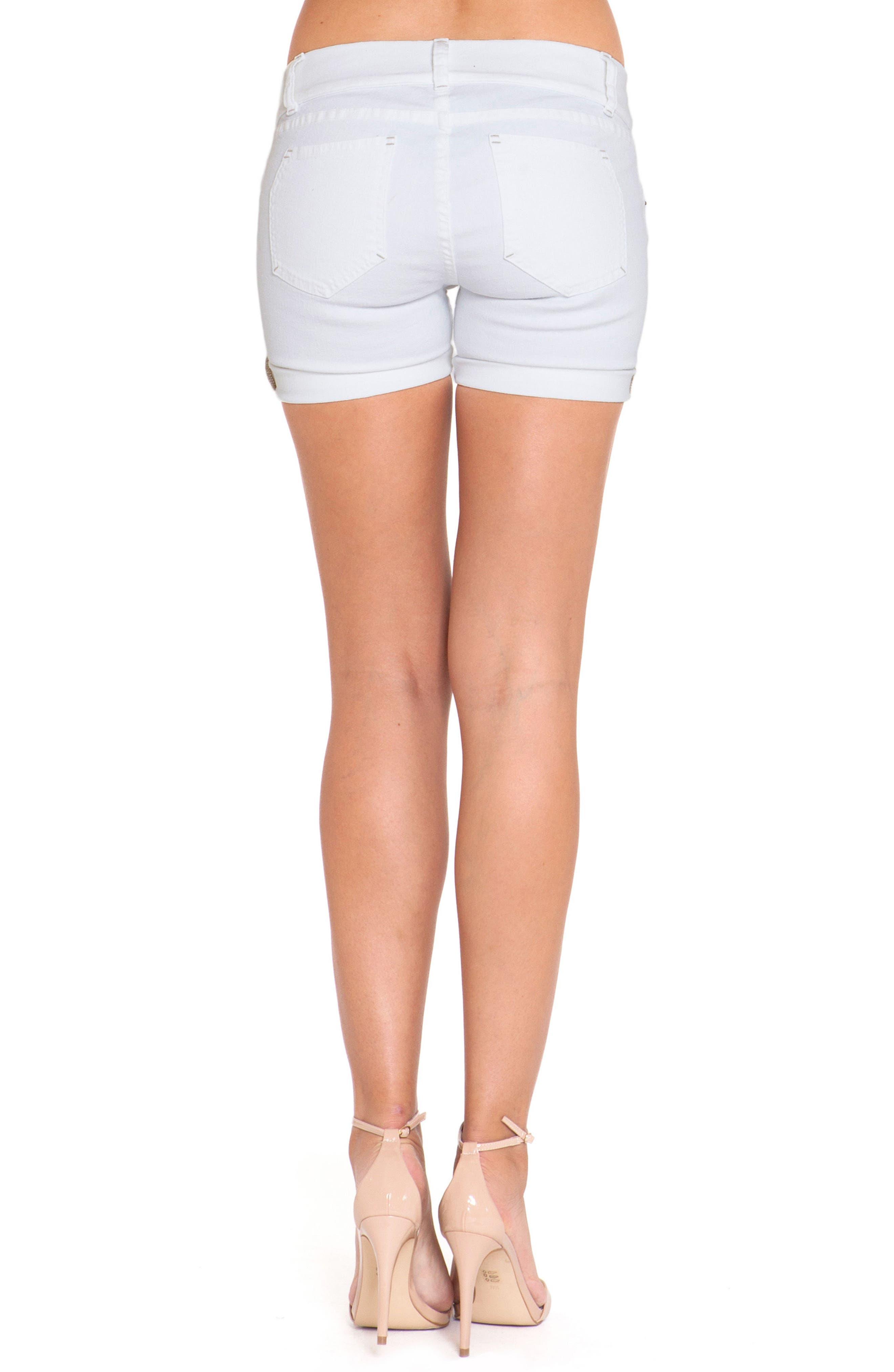 Denim Maternity Shorts,                             Alternate thumbnail 3, color,                             White