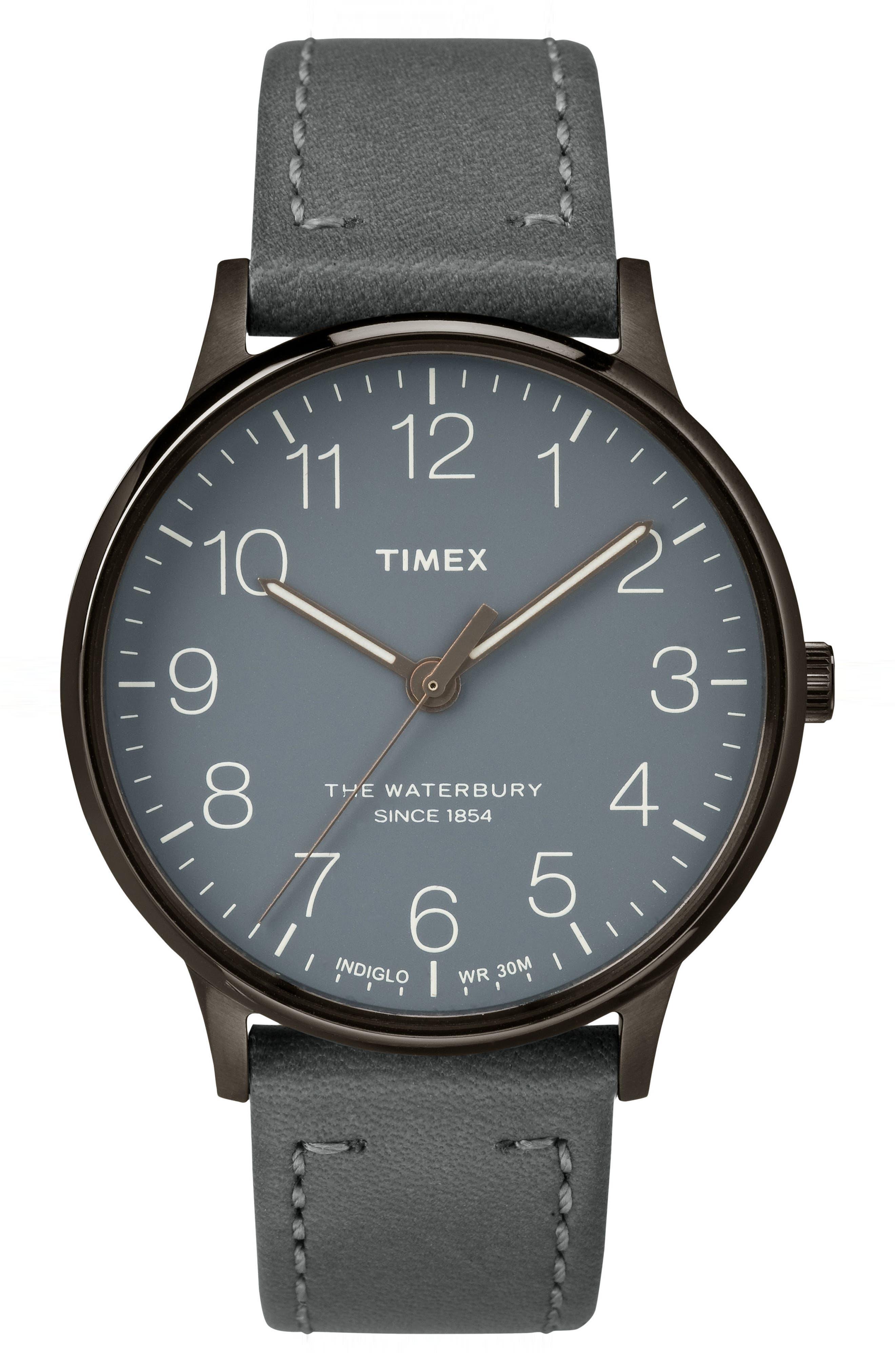 Timex® Waterbury Classic Leather Strap Watch, 40mm