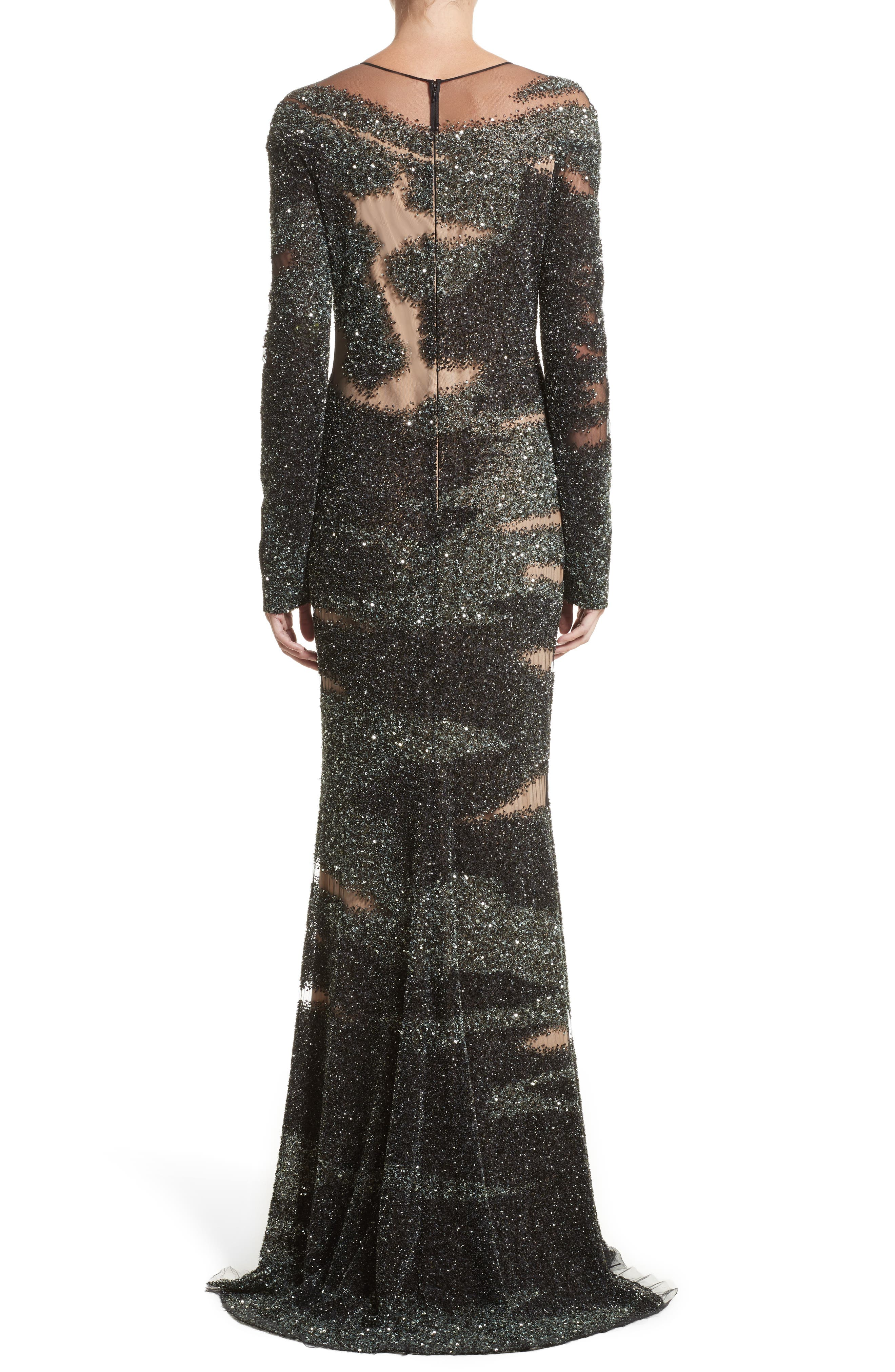 Brushstroke Sequin Long Sleeve Gown,                             Alternate thumbnail 2, color,                             Moss/Gunmetal