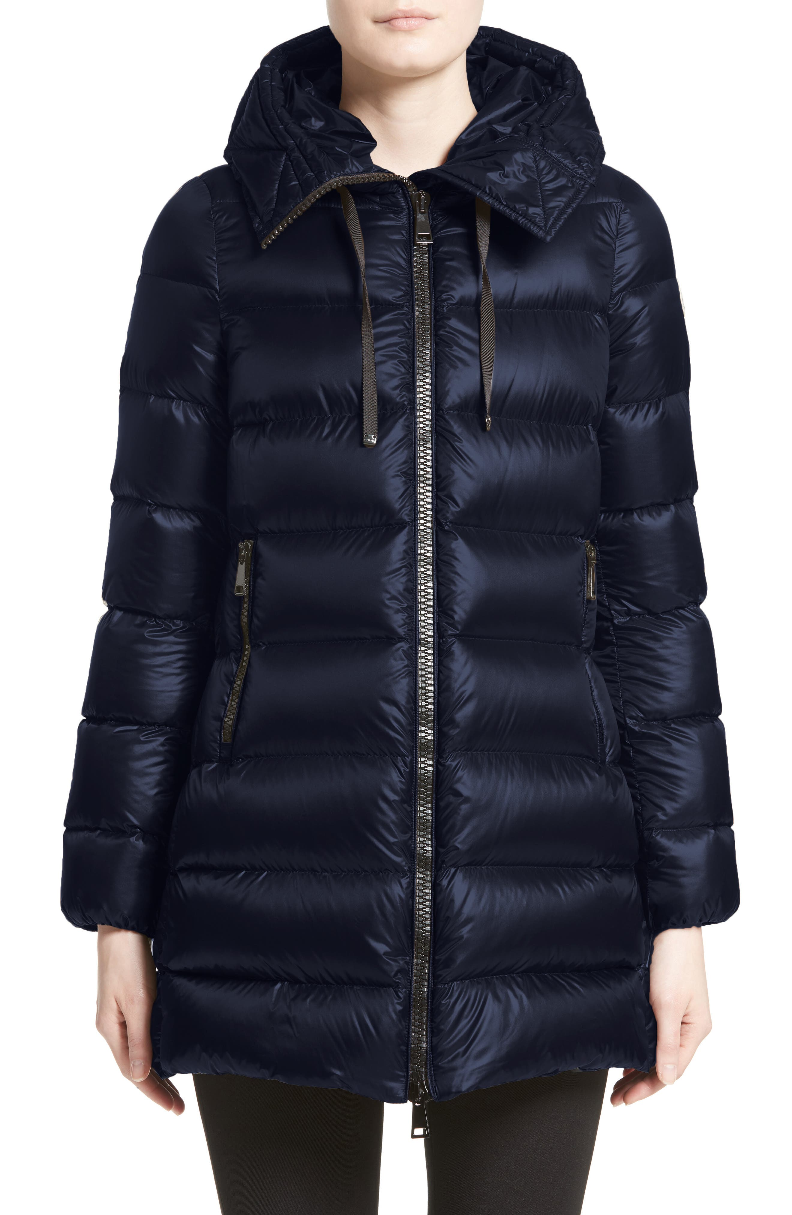 'Suyen' Water Resistant Hooded Down Puffer Coat,                         Main,                         color, Pop Navy