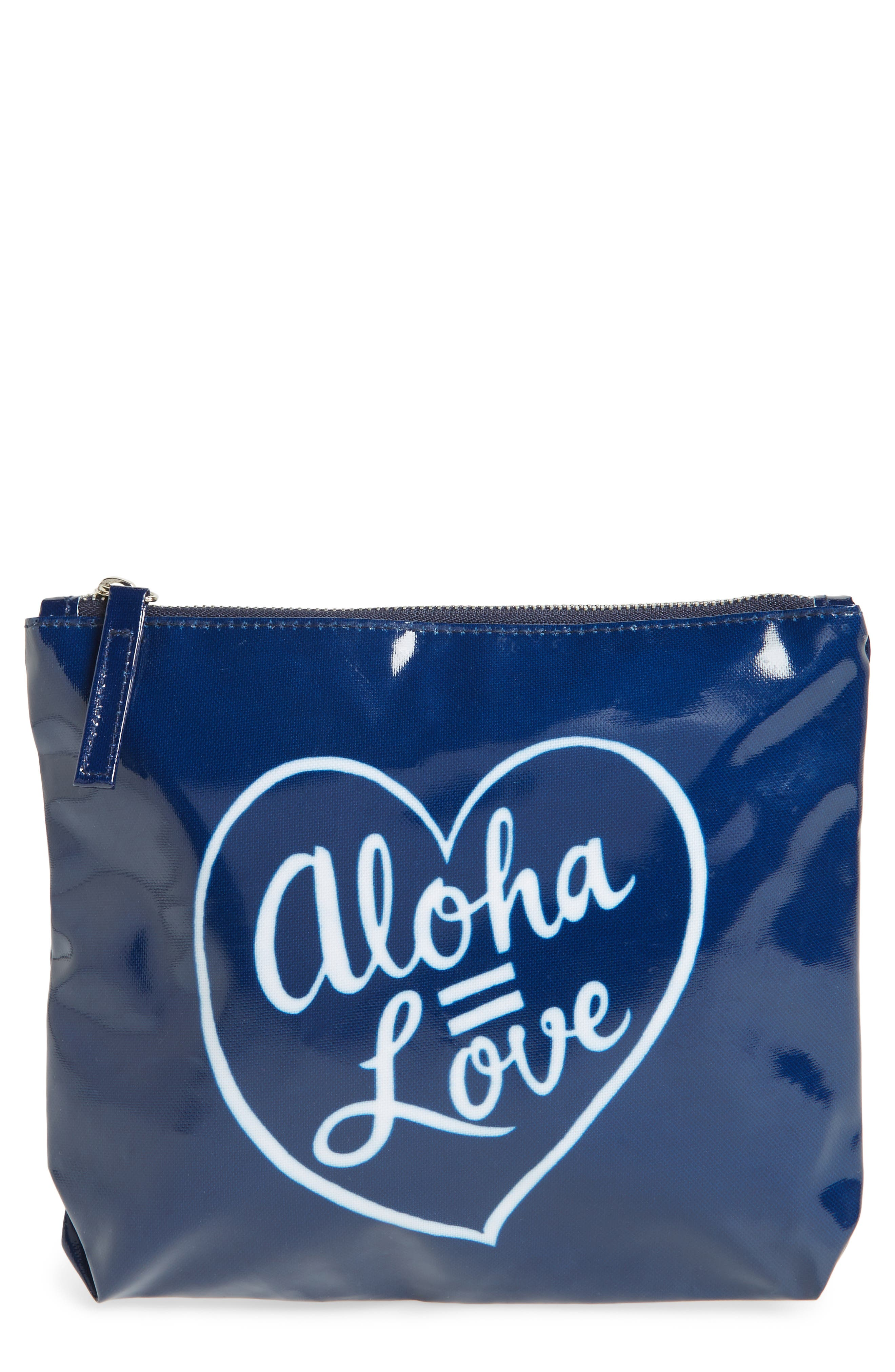 Aloha Love Pouch,                         Main,                         color, Navy/ White