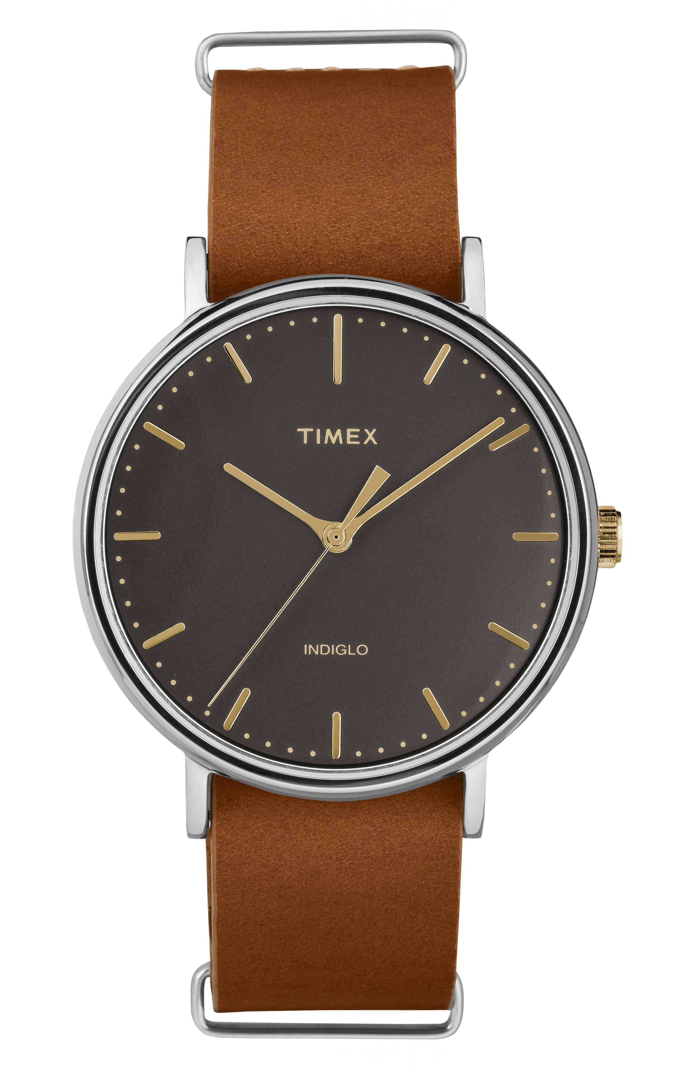 Timex® Fairfield Leather Strap Watch, 41mm