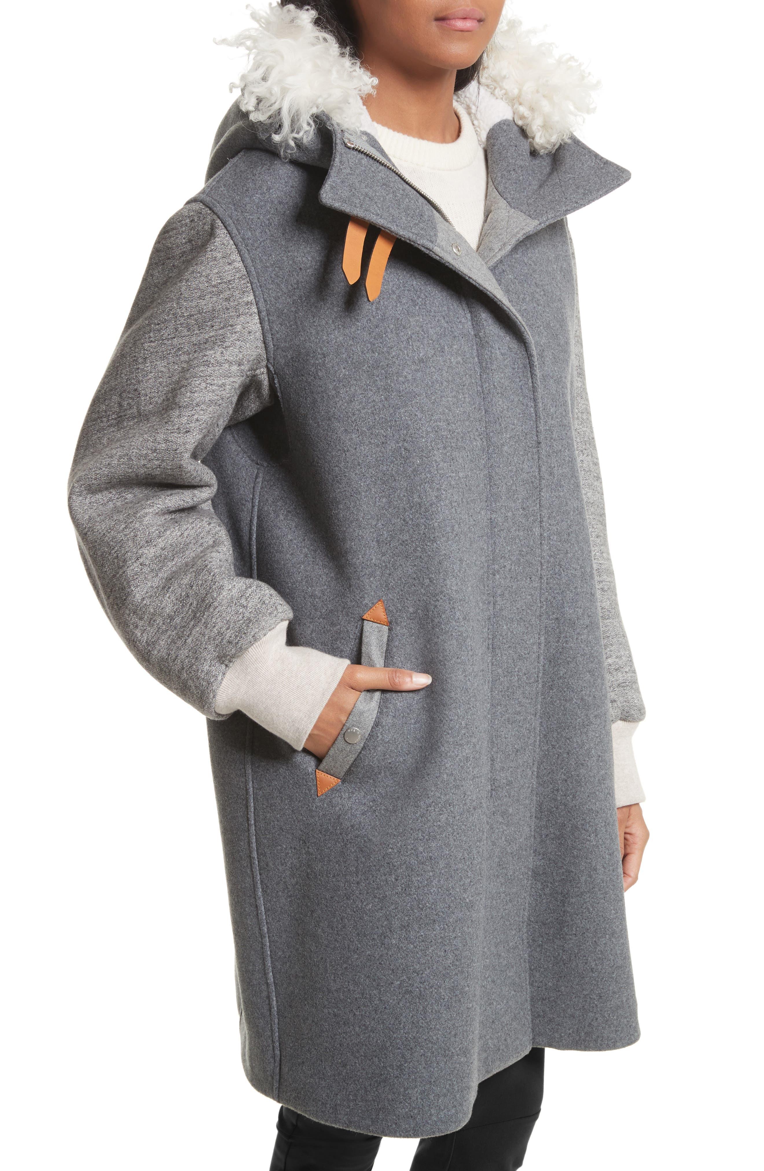 Laporta Genuine Shearling Trim Wool Blend Hooded Coat,                             Alternate thumbnail 5, color,                             Dark Grey