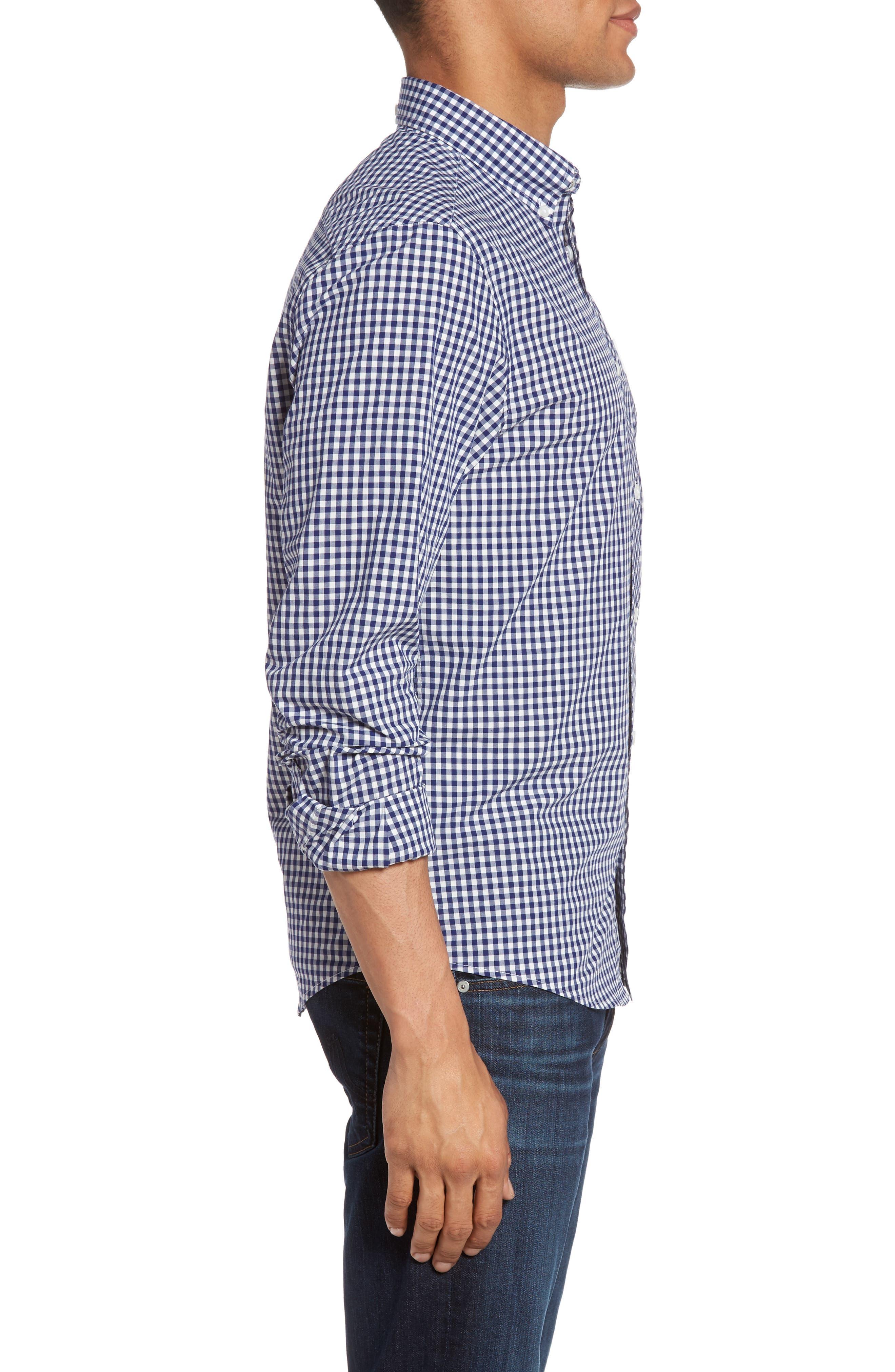 Mod Fit Gingham Sport Shirt,                             Alternate thumbnail 4, color,                             Blue Depths