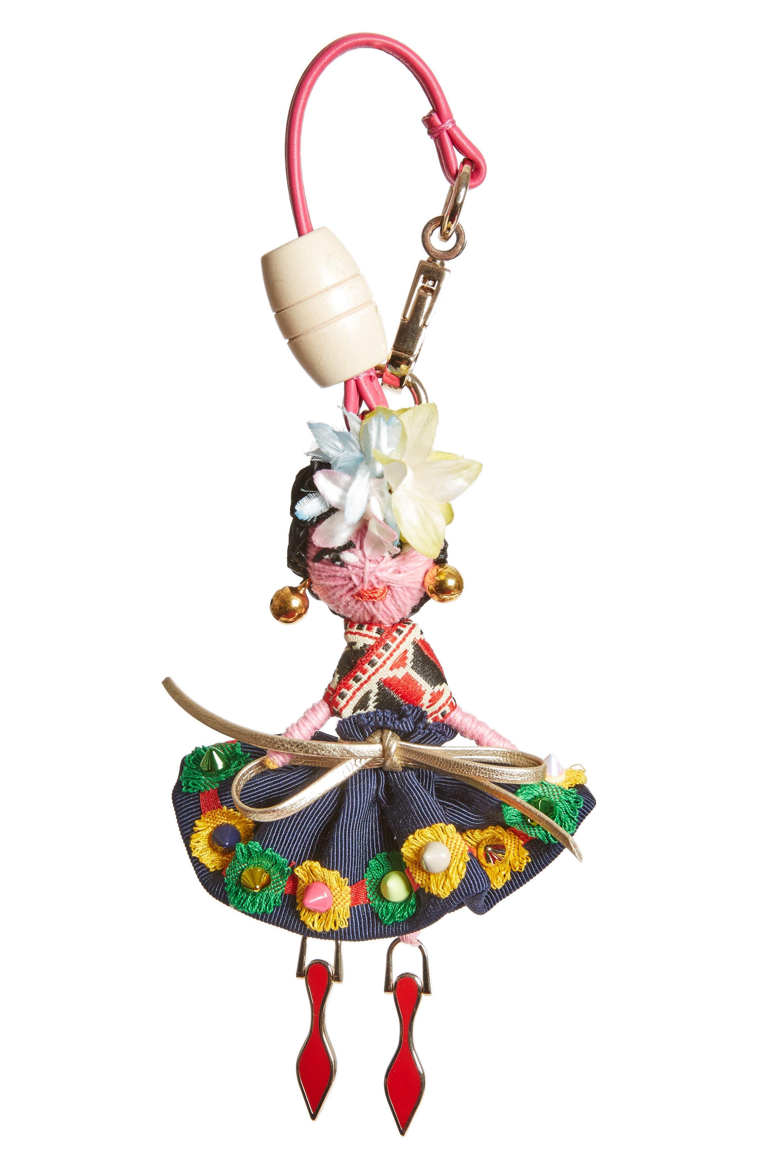 Mexiloubi Doll Bag Charm,                         Main,                         color, Multi/ Gold