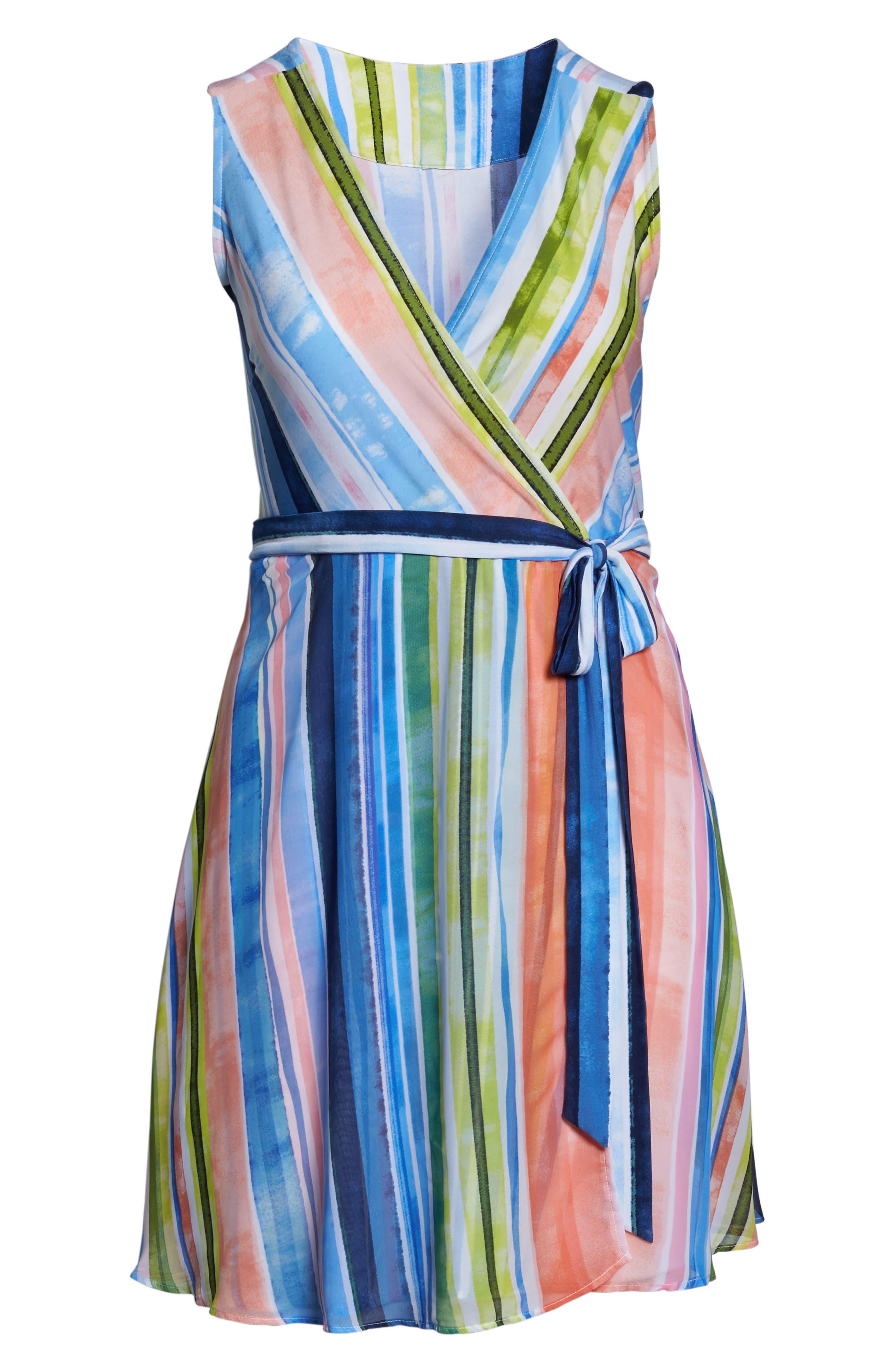 Stripe Faux Wrap Dress,                             Alternate thumbnail 6, color,                             Multi