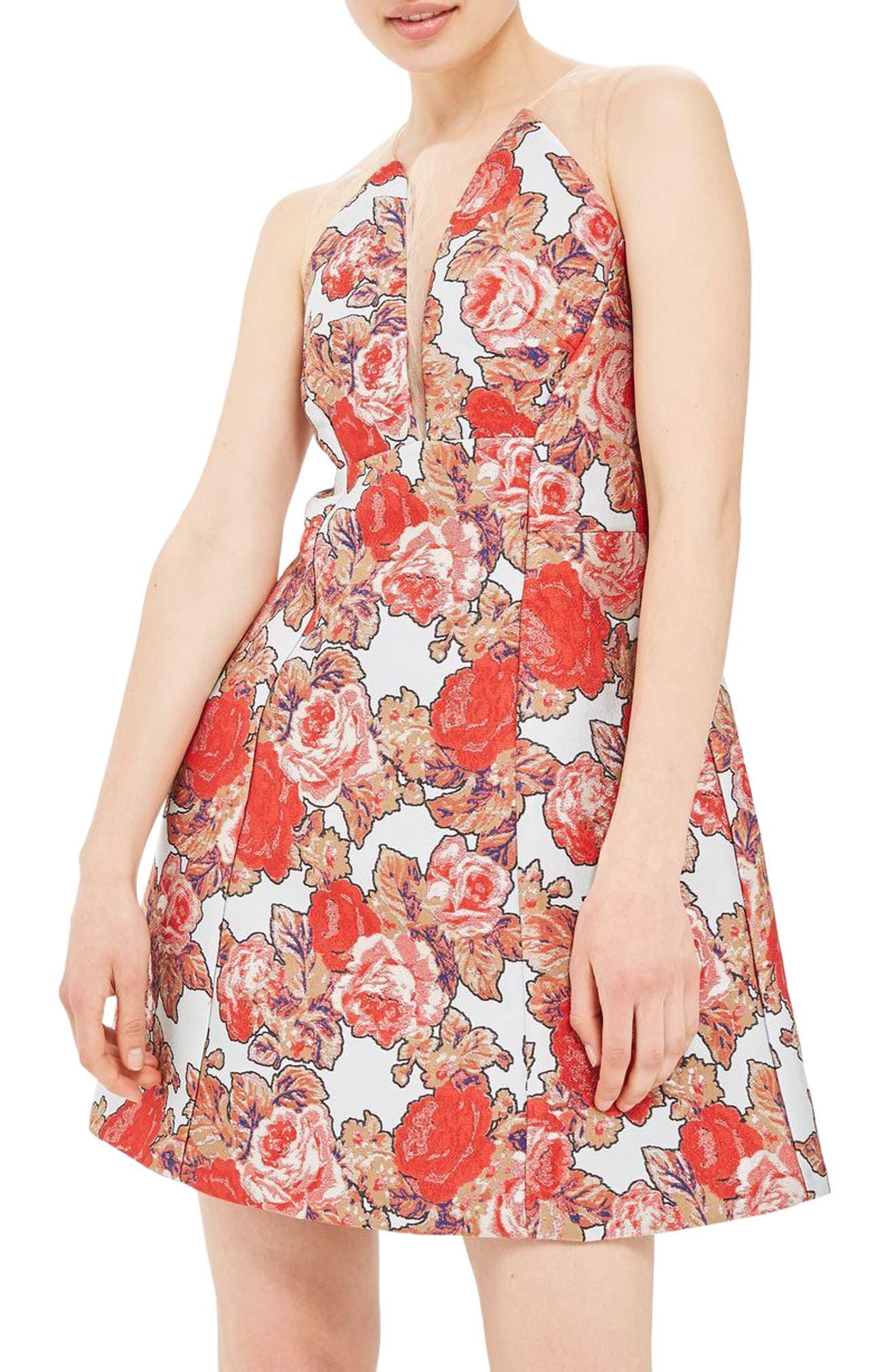 Illusion Jacquard Minidress,                         Main,                         color, Red Multi