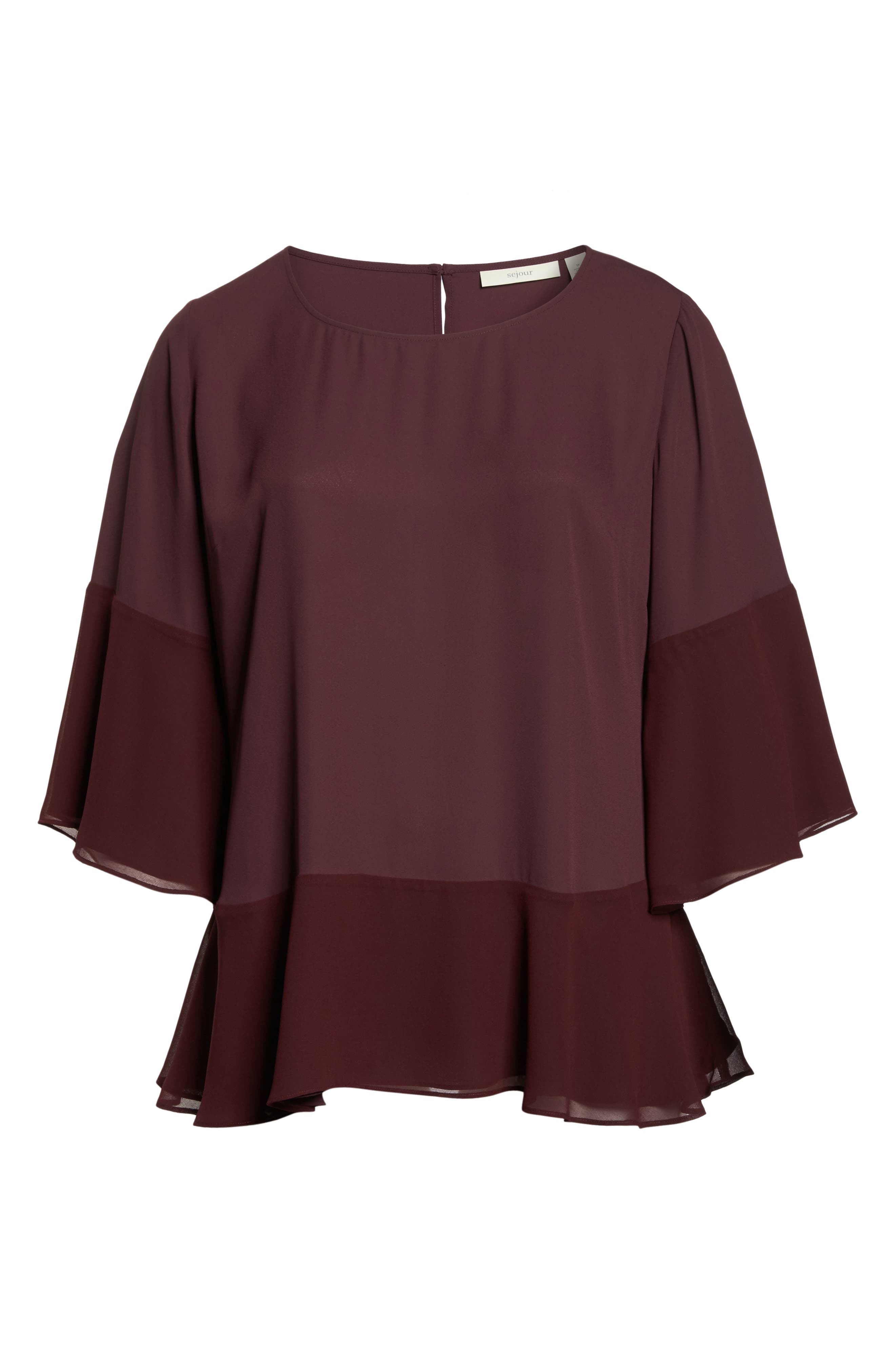 Alternate Image 6  - Sejour Flare Sleeve Double Layer Top (Plus Size)
