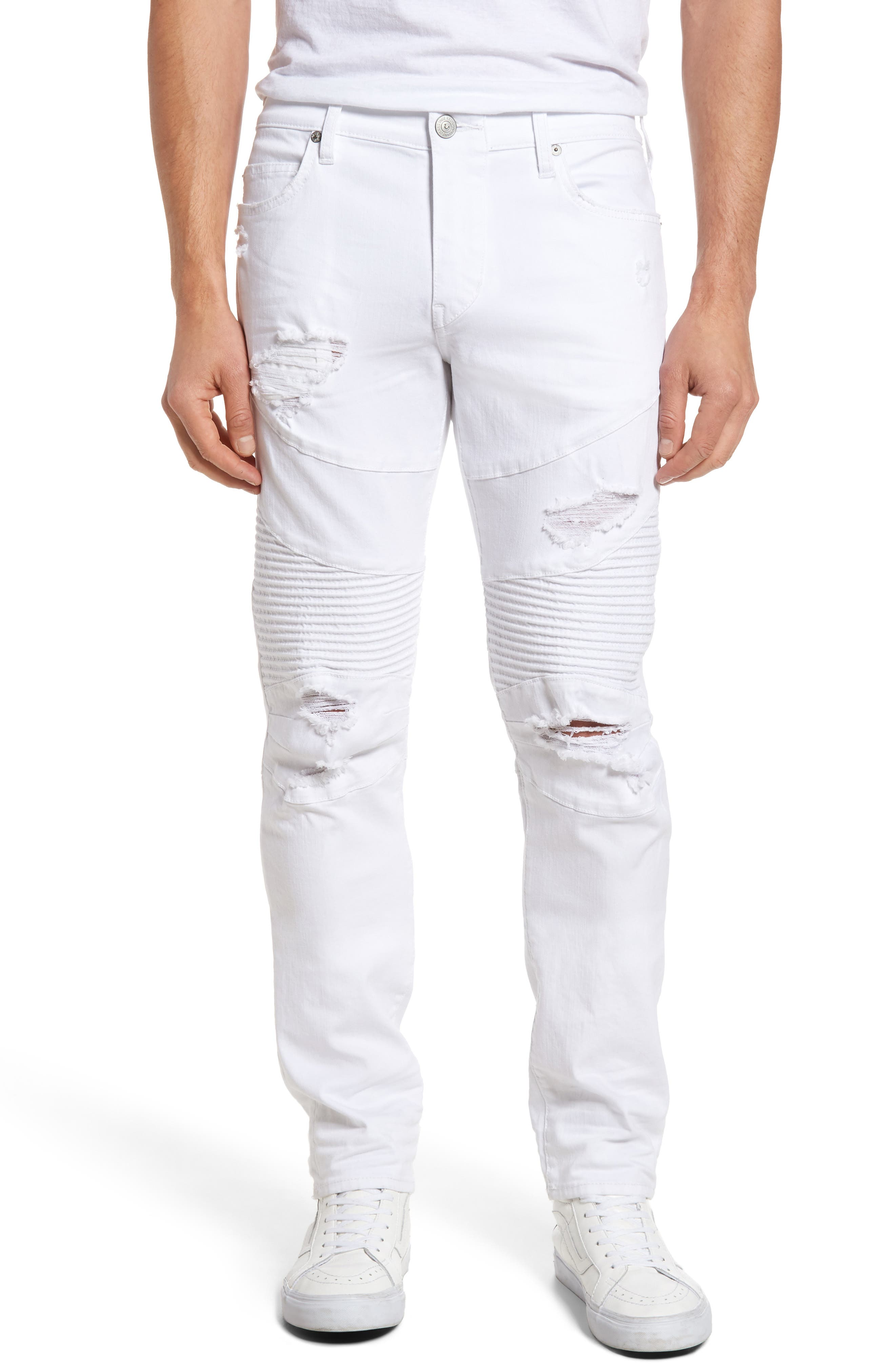 TRUE RELIGION BRAND JEANS Rocco Skinny Fit Moto Jeans