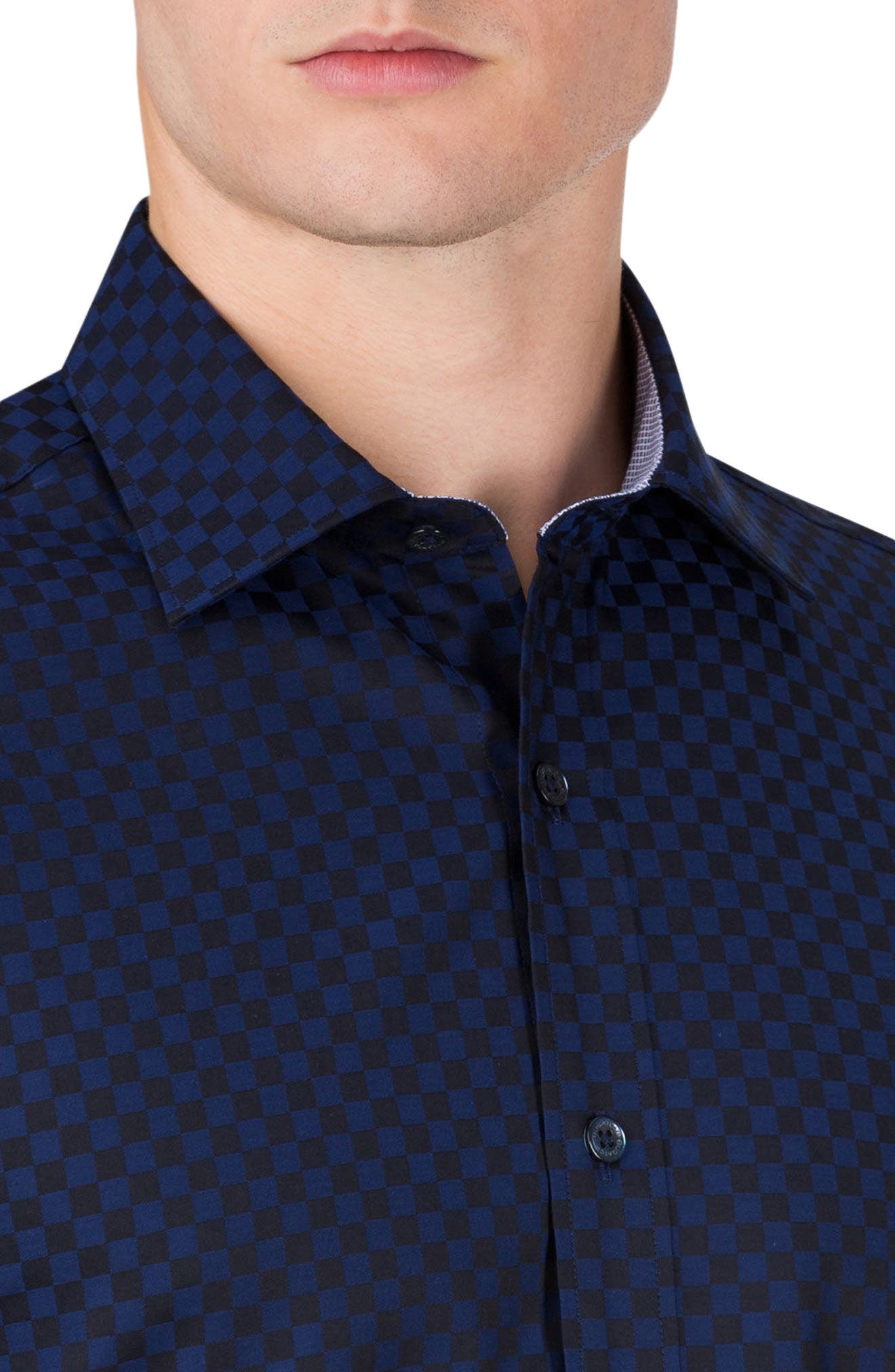 Alternate Image 3  - Bugatchi Classic Fit Checkerboard Sport Shirt