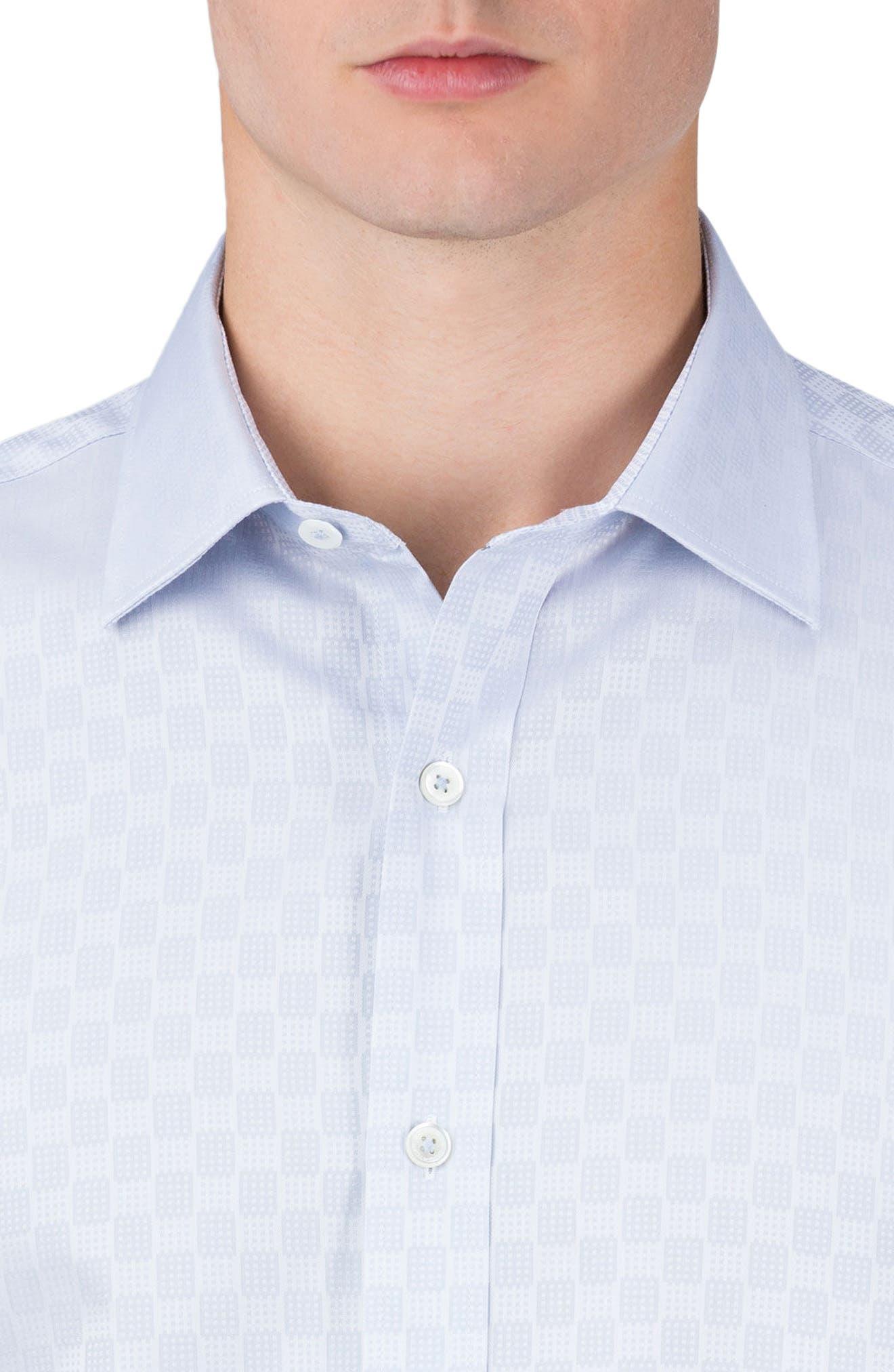 Shaped Fit Checker Print Sport Shirt,                             Alternate thumbnail 3, color,                             Silver