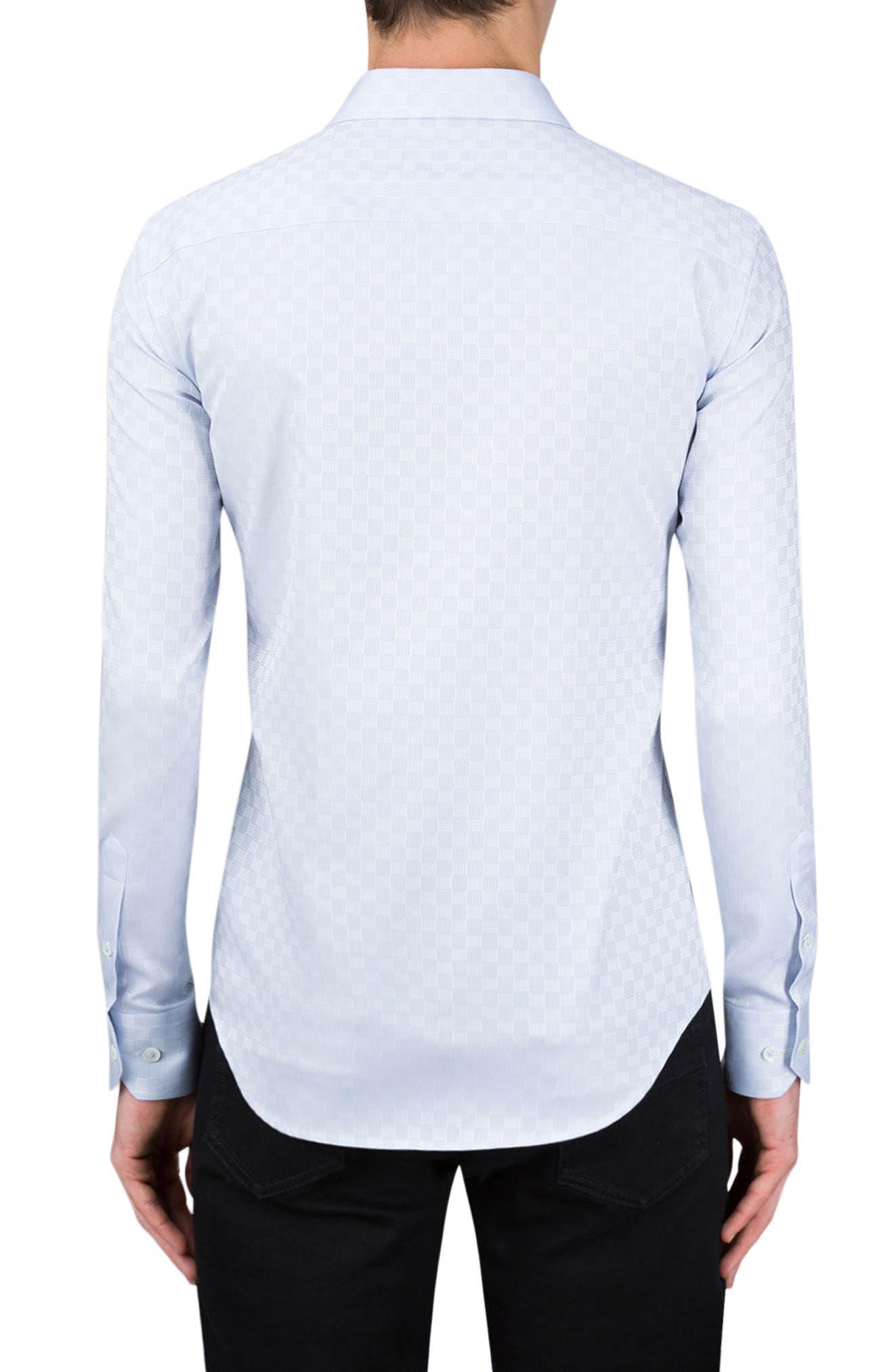 Shaped Fit Checker Print Sport Shirt,                             Alternate thumbnail 2, color,                             Silver