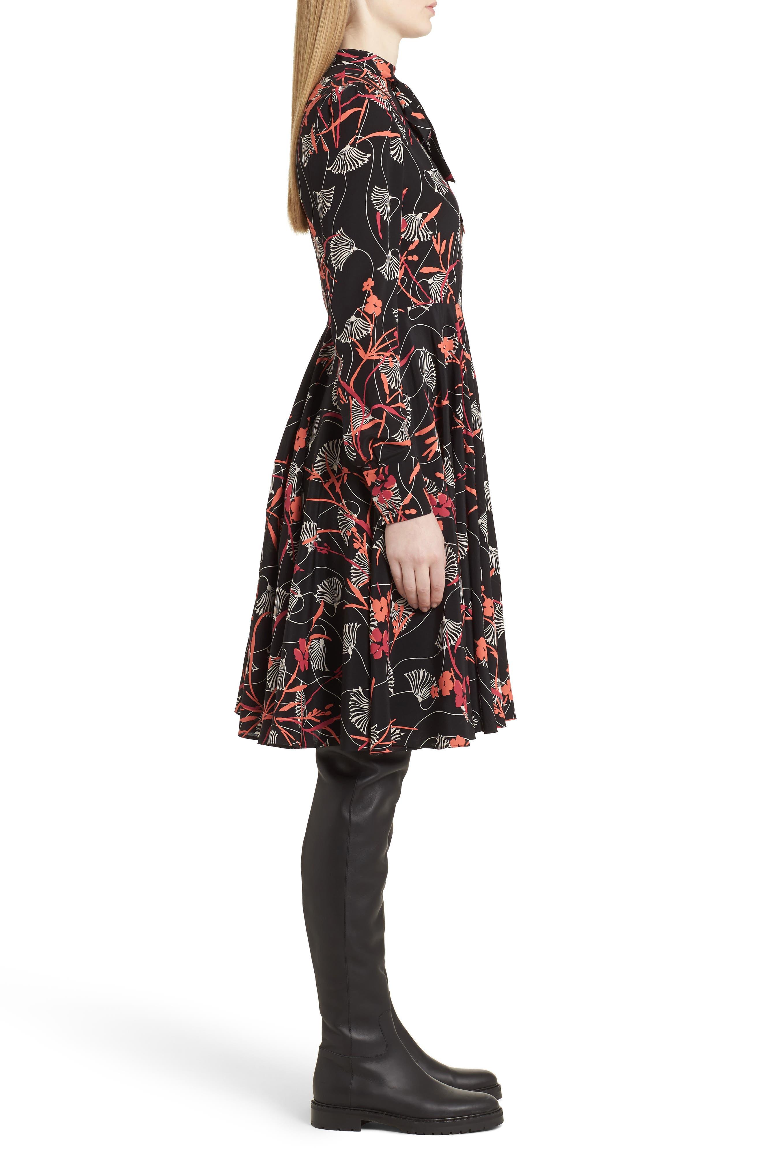 Alternate Image 3  - Valentino Lotus Print Tie Neck Dress