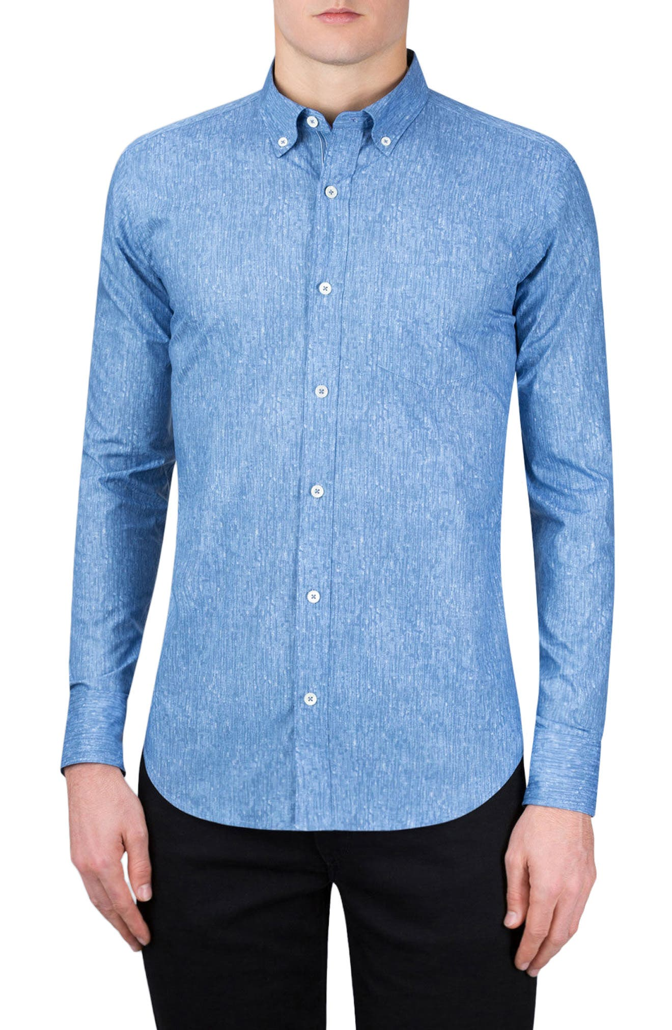 Classic Fit Abstract Print Sport Shirt,                             Main thumbnail 1, color,                             Air Blue