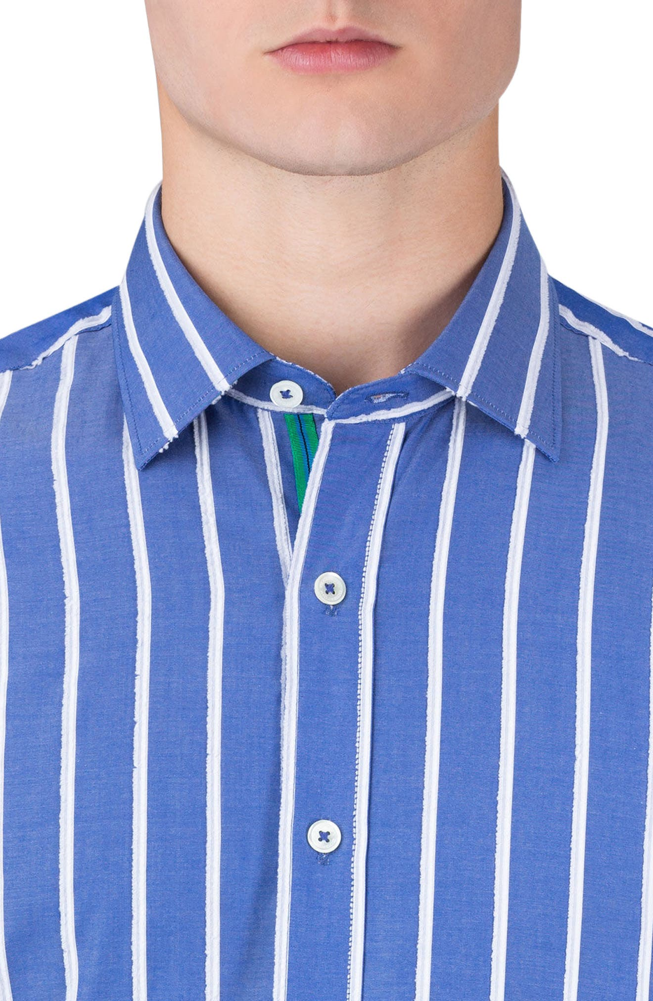 Classic Fit Vertical Stripe Sport Shirt,                             Alternate thumbnail 3, color,                             Night Blue