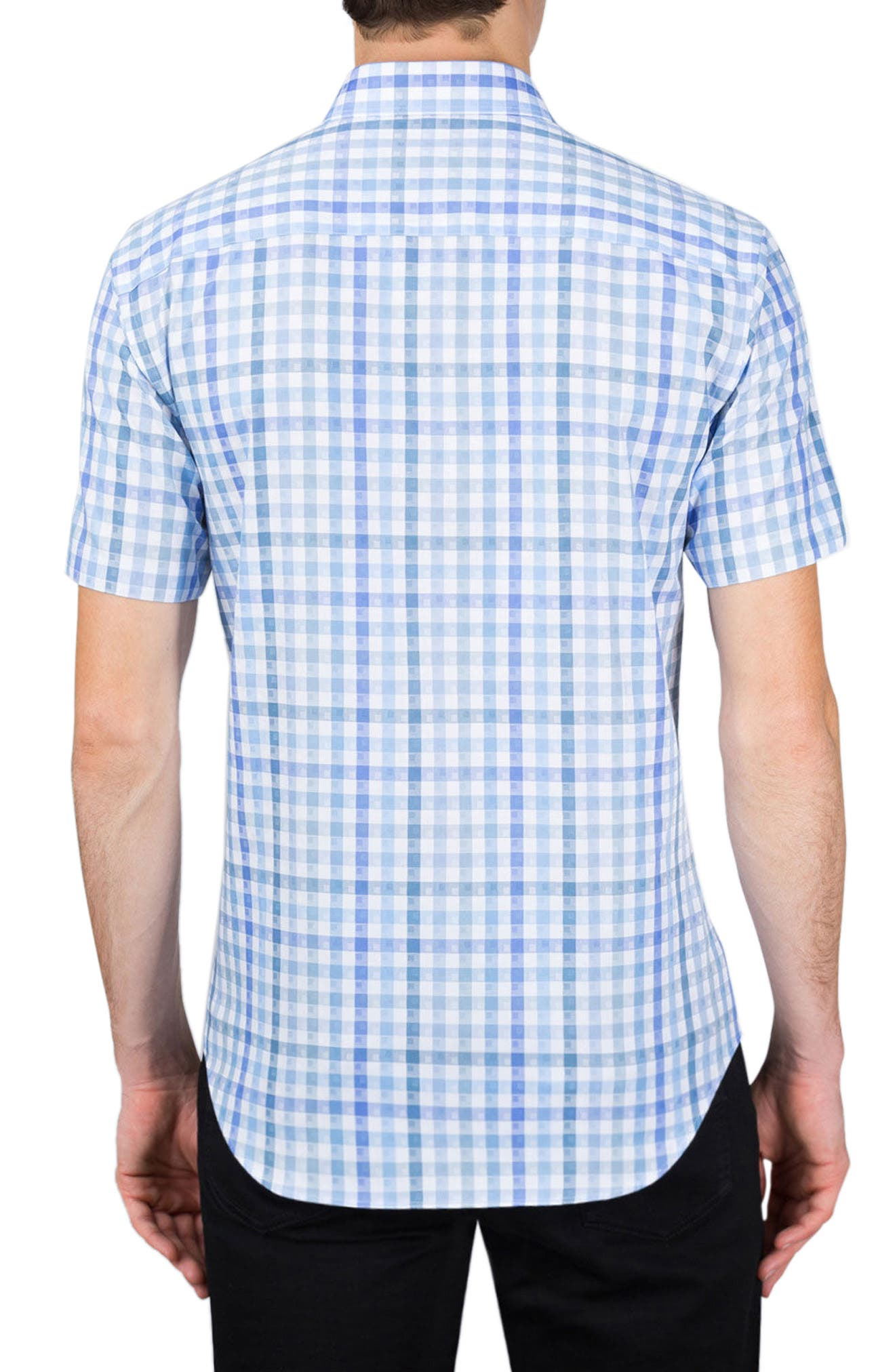 Alternate Image 2  - Bugatchi Classic Fit Check Short Sleeve Sport Shirt