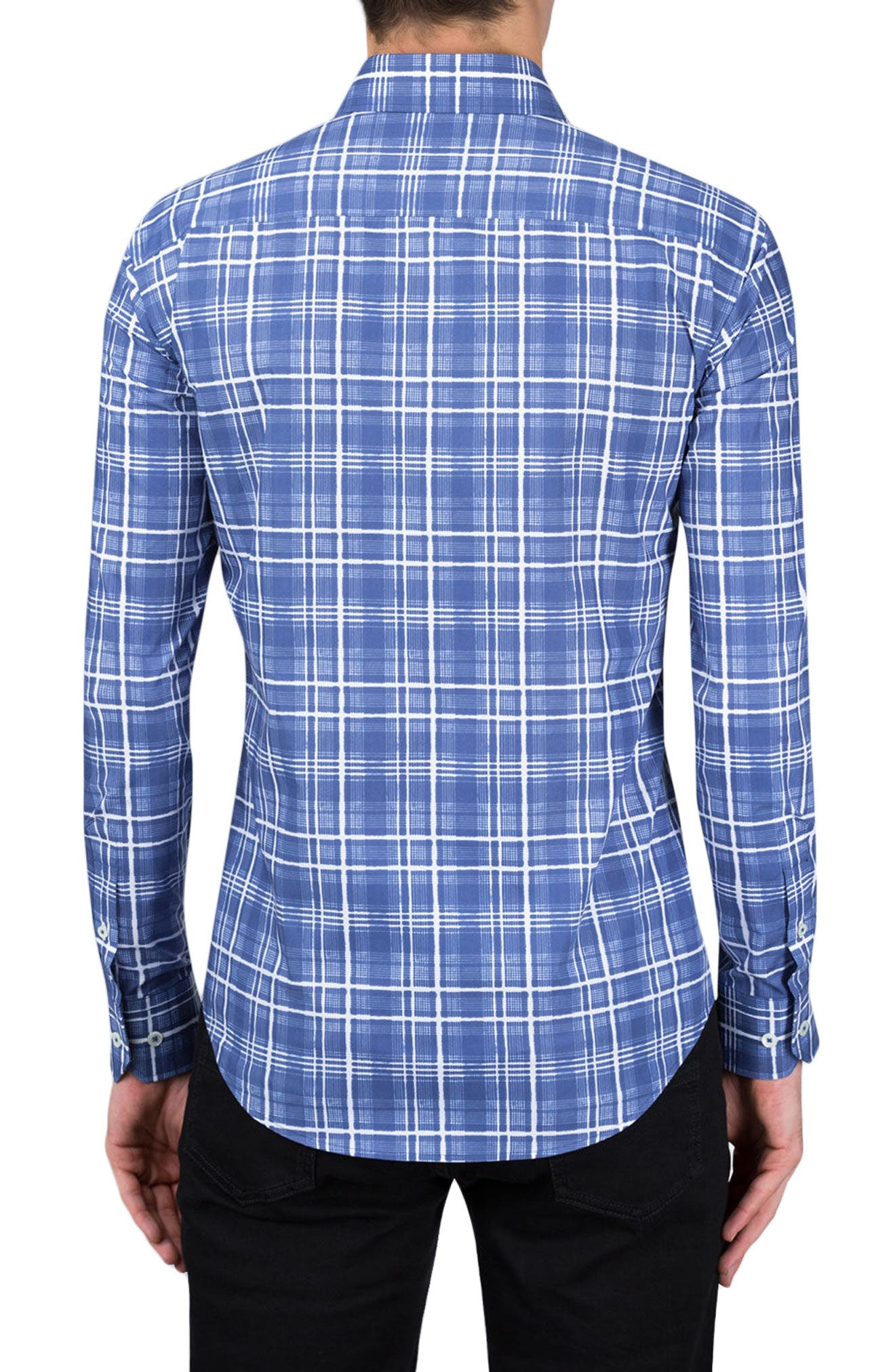 Shaped Fit Check Sport Shirt,                             Alternate thumbnail 2, color,                             Navy