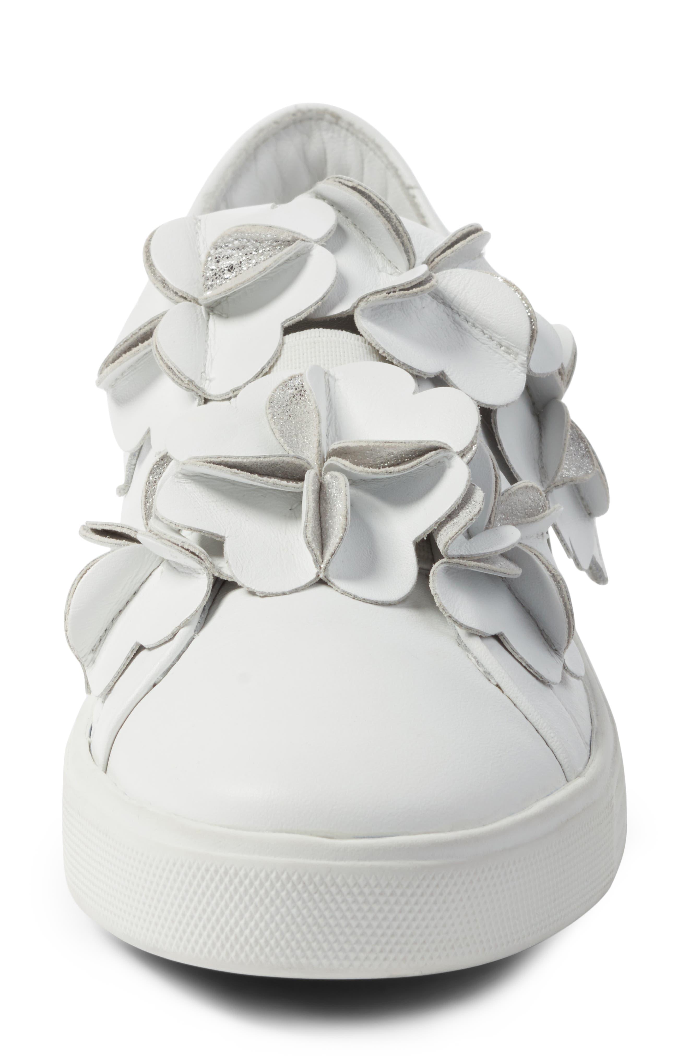 Kennel & Schmenger Town Floral Embellished Sneaker,                             Alternate thumbnail 4, color,                             White/ Silver