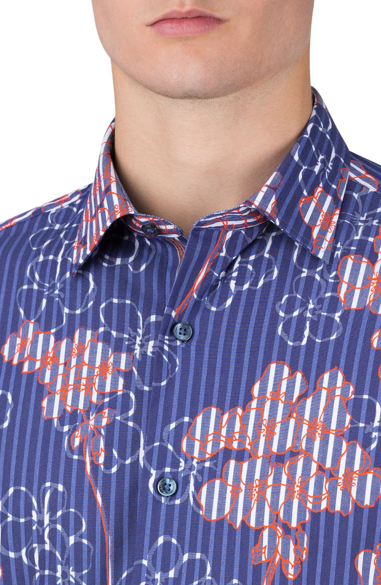 Alternate Image 3  - Bugatchi Shaped Fit Floral Stripe Sport Shirt