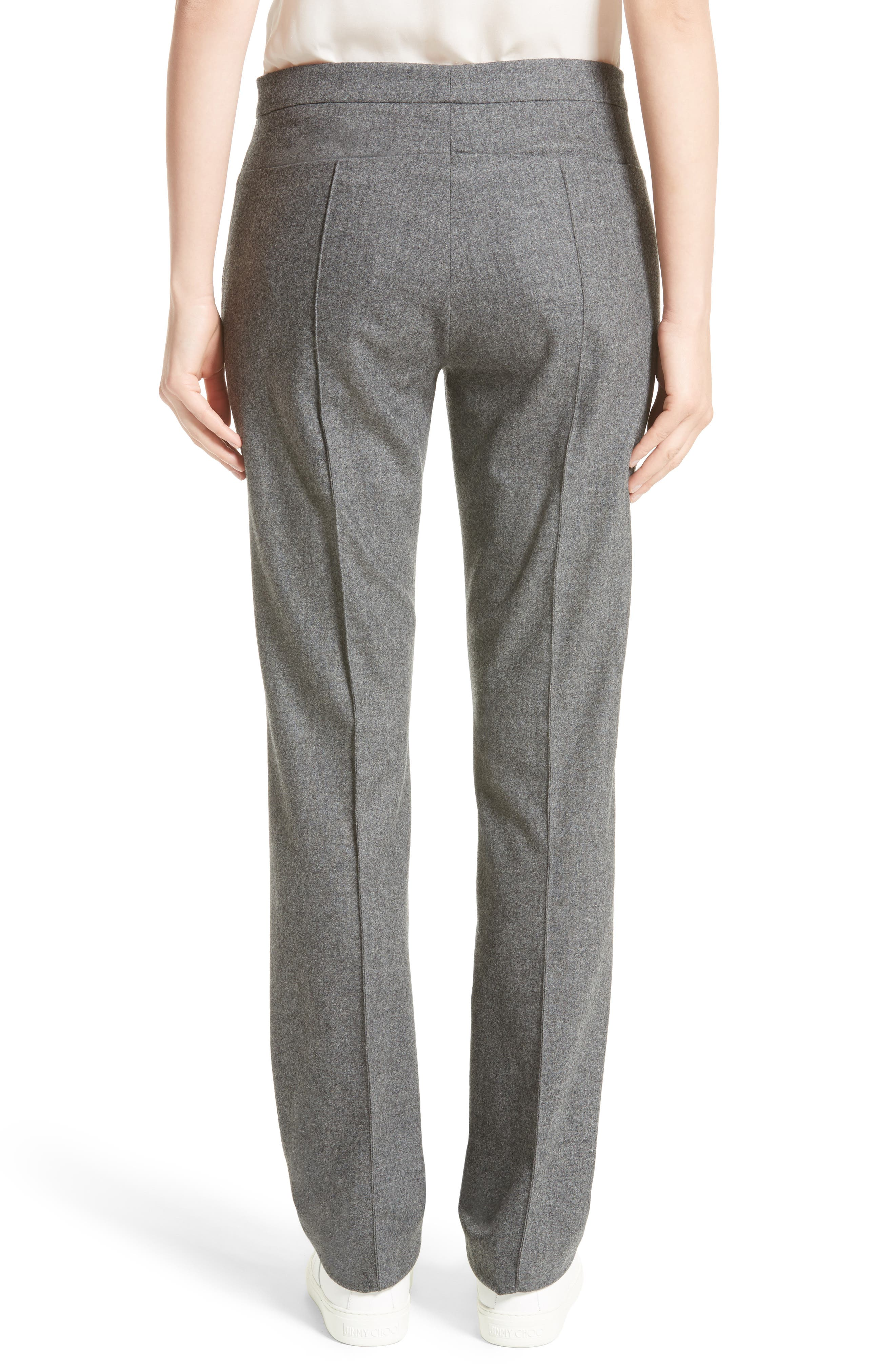 High Waist Flannel Trousers,                             Alternate thumbnail 2, color,                             Grey