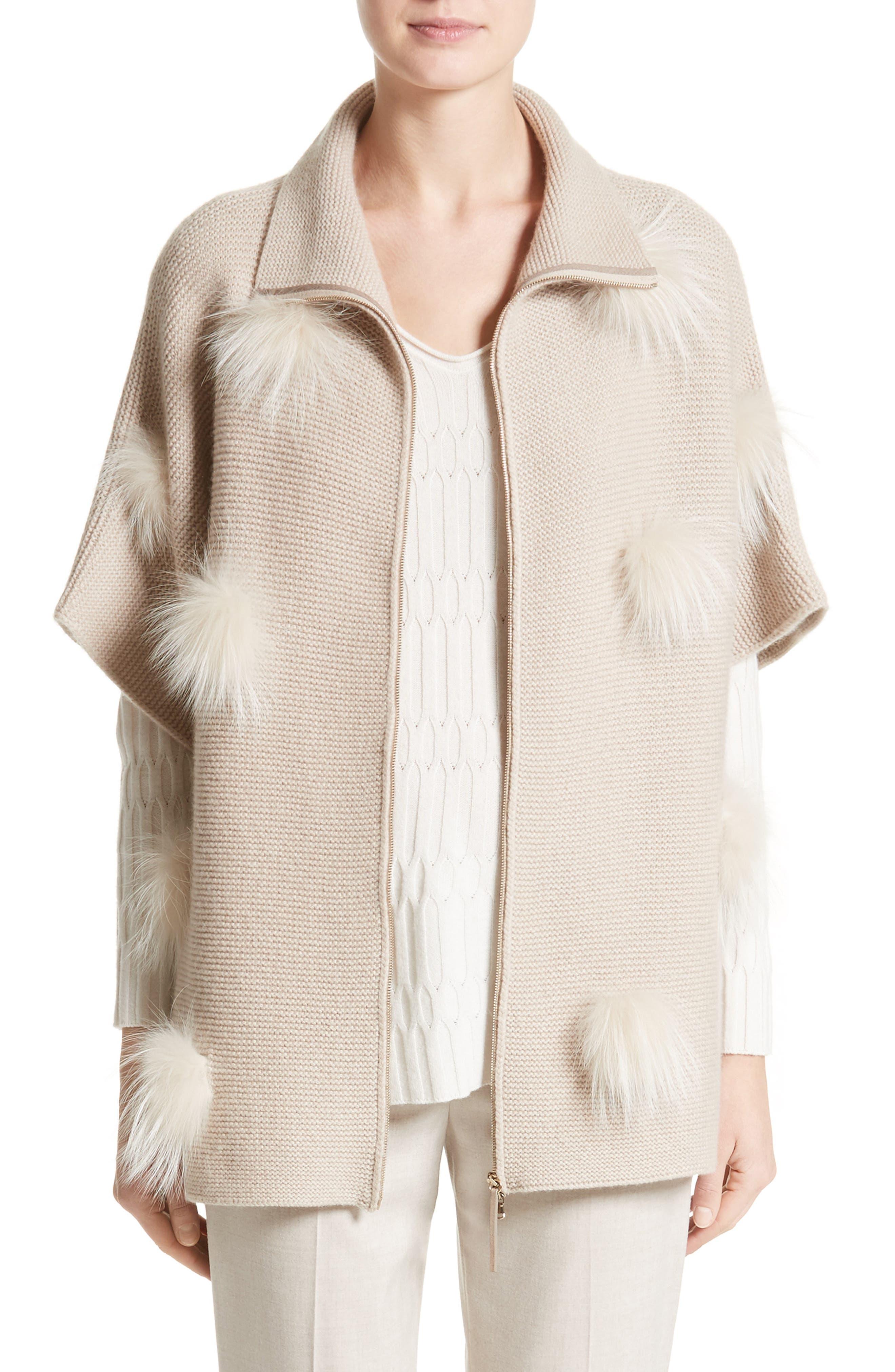 Micro Braid Cashmere Zip Cardigan with Genuine Fox Fur Trim,                         Main,                         color, Almond