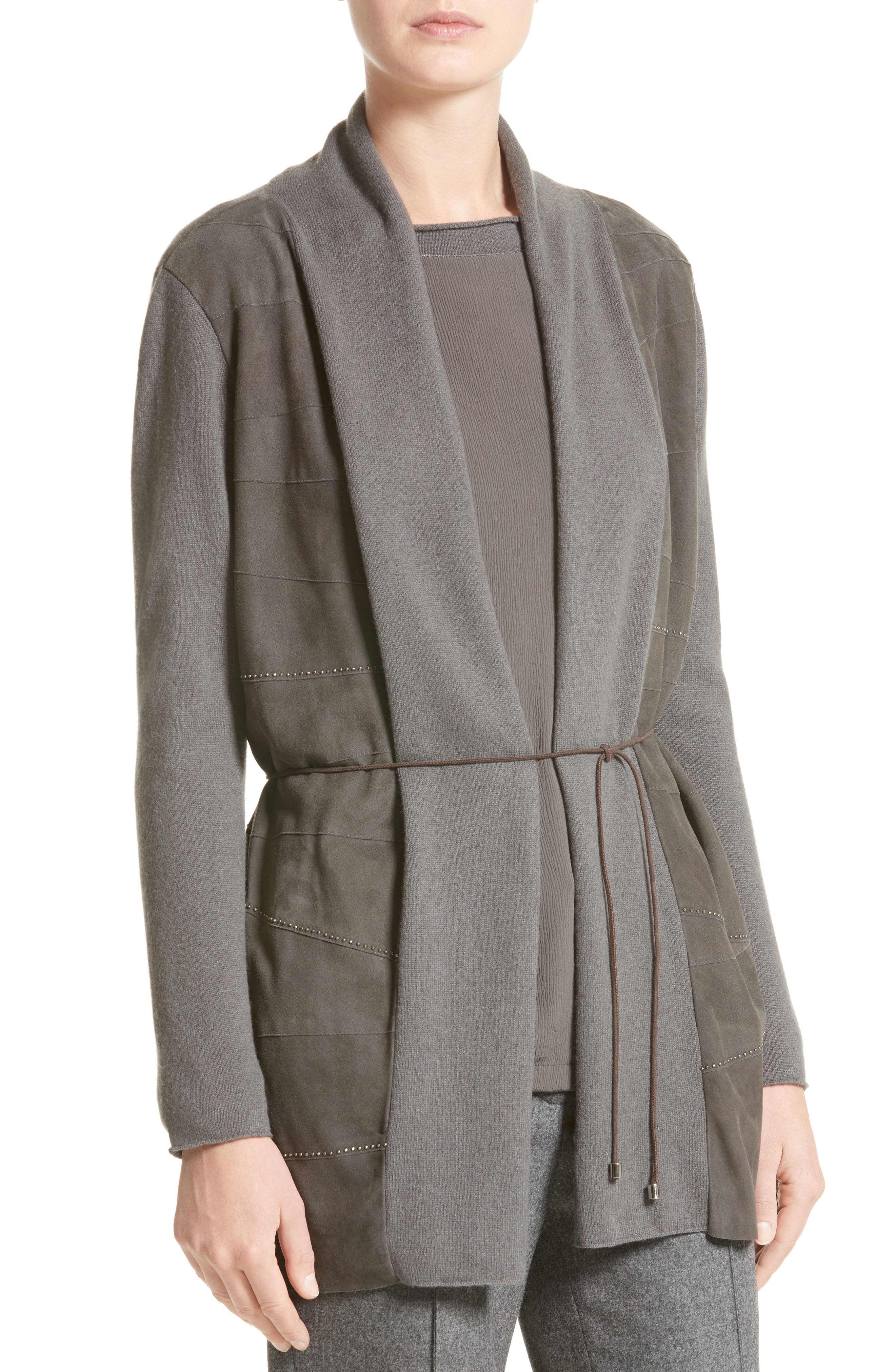 Suede Trim Wool, Silk & Cashmere Cardigan,                             Alternate thumbnail 7, color,                             Slate