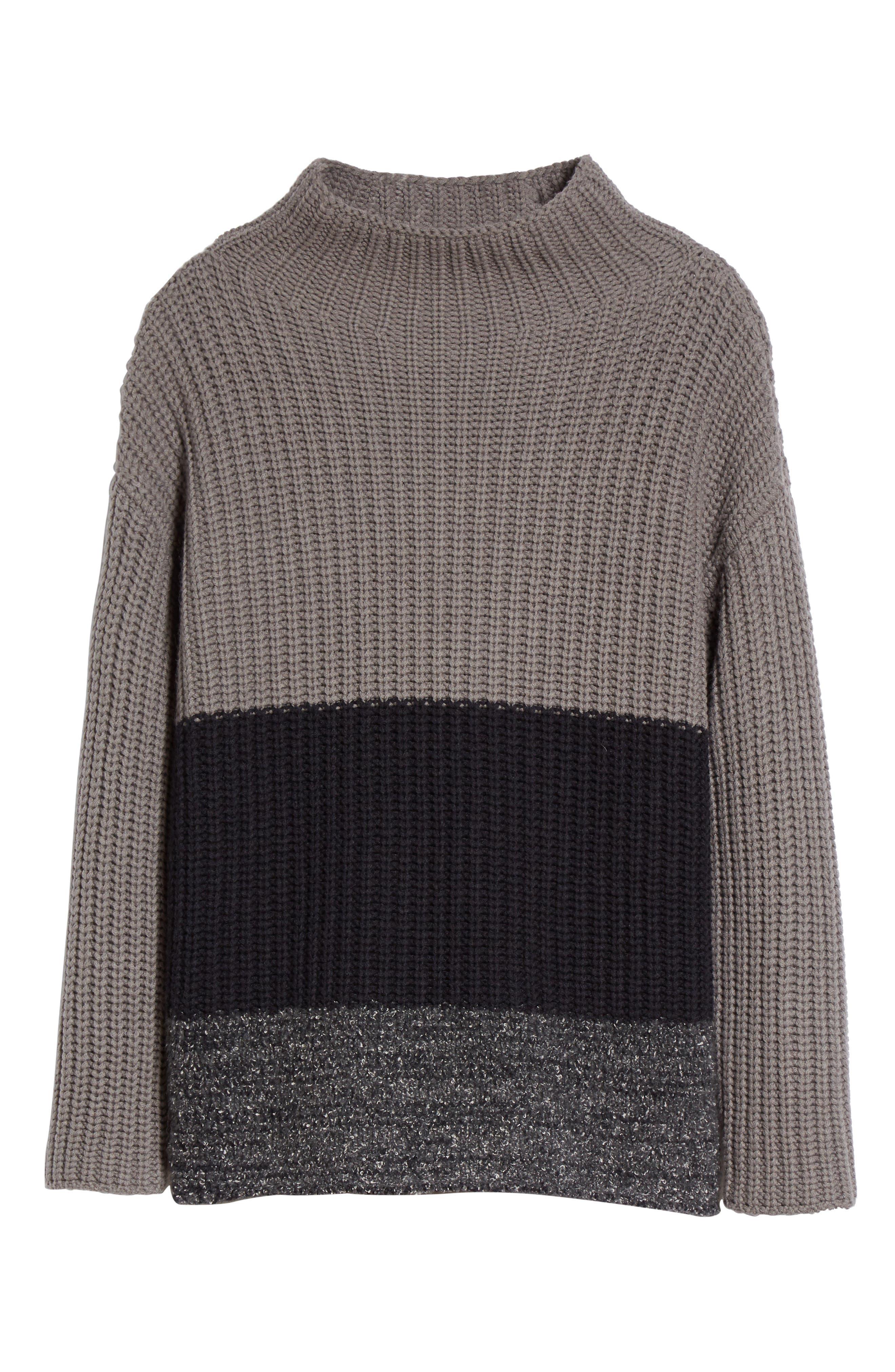 Ribbed Colorblock Sweater,                             Alternate thumbnail 4, color,                             Grey Multi
